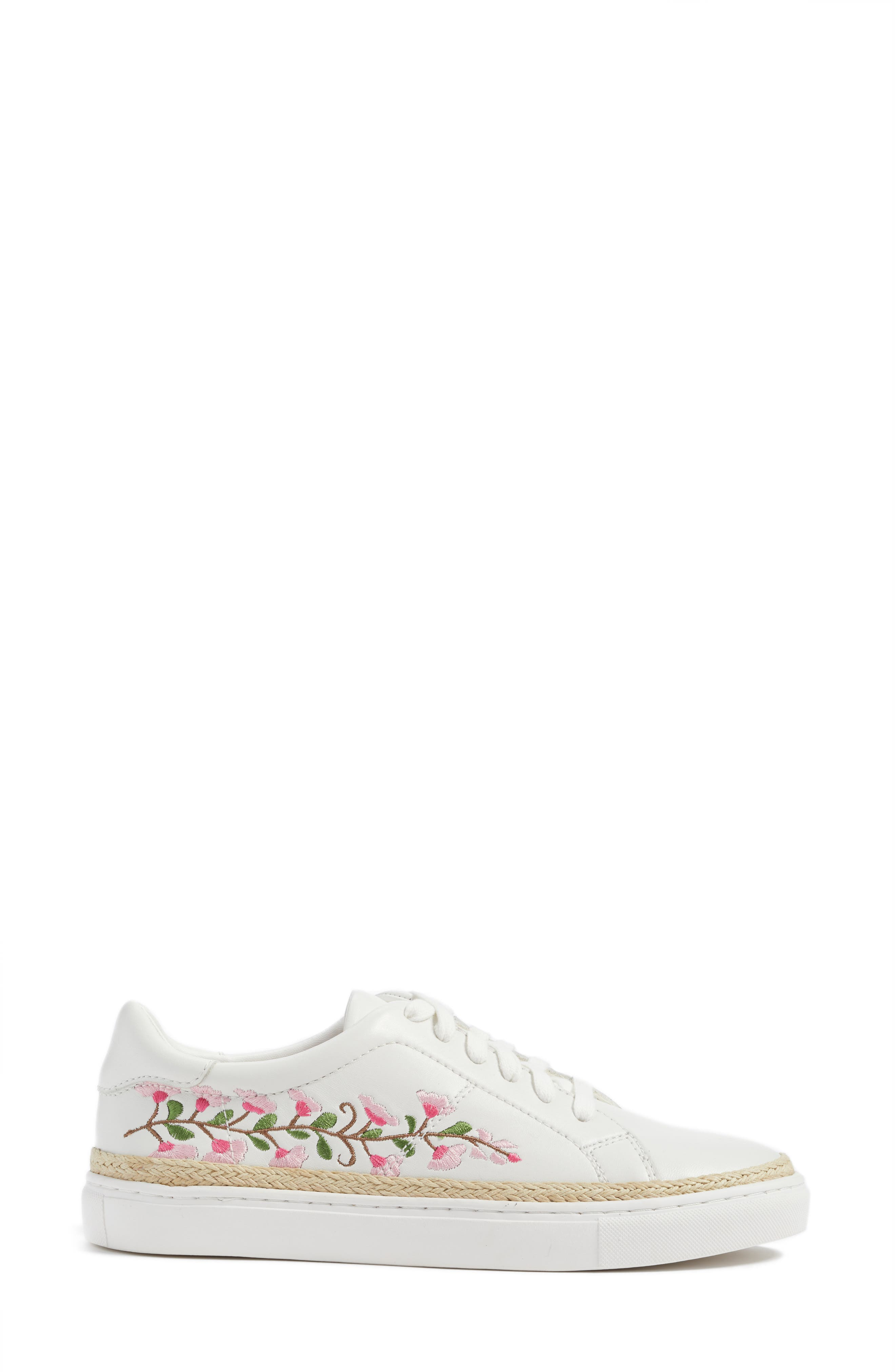 Perry Lea Embroidered Sneaker,                             Alternate thumbnail 3, color,                             White Leather