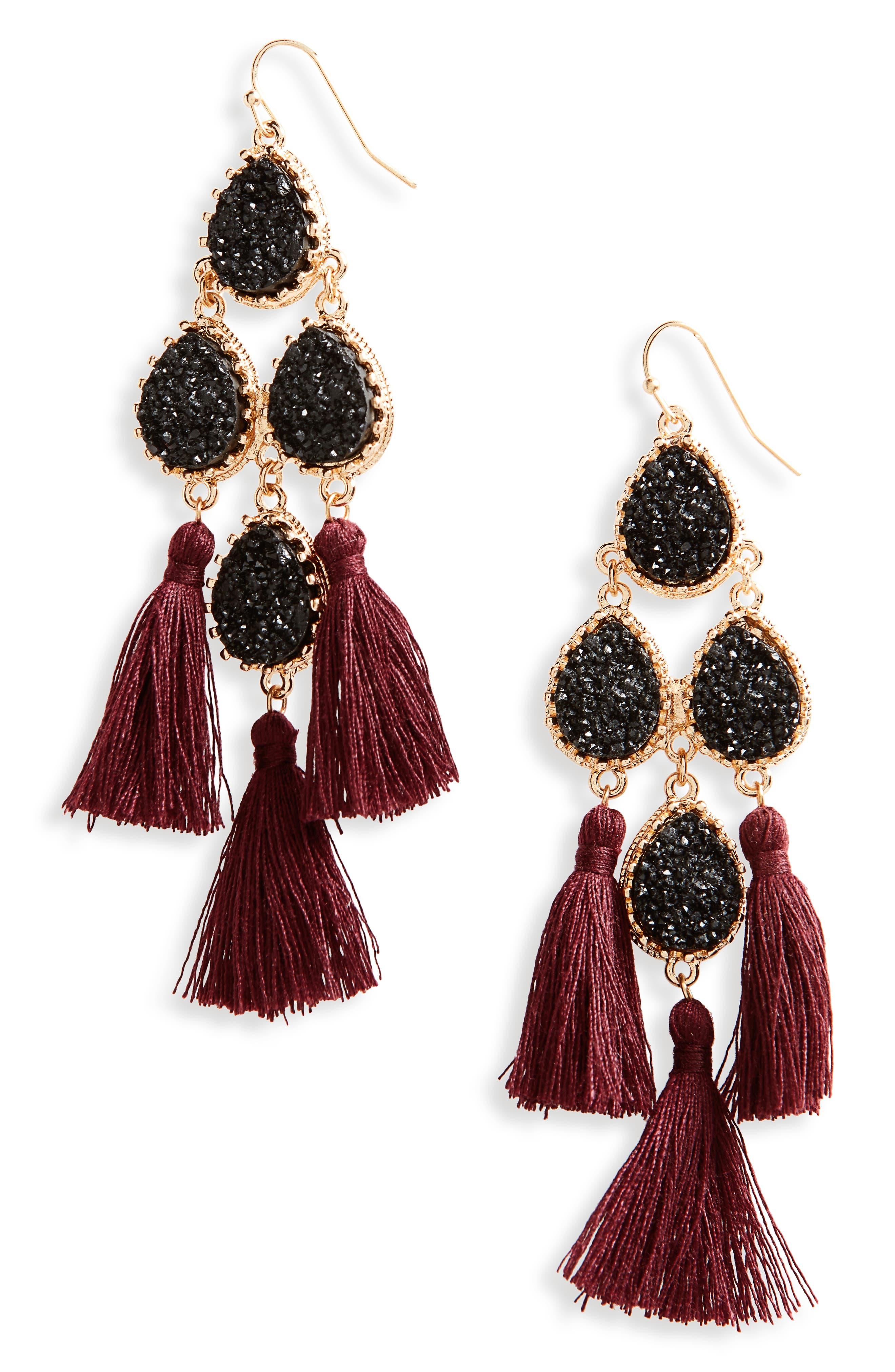 Tassel Earrings,                         Main,                         color, Jet