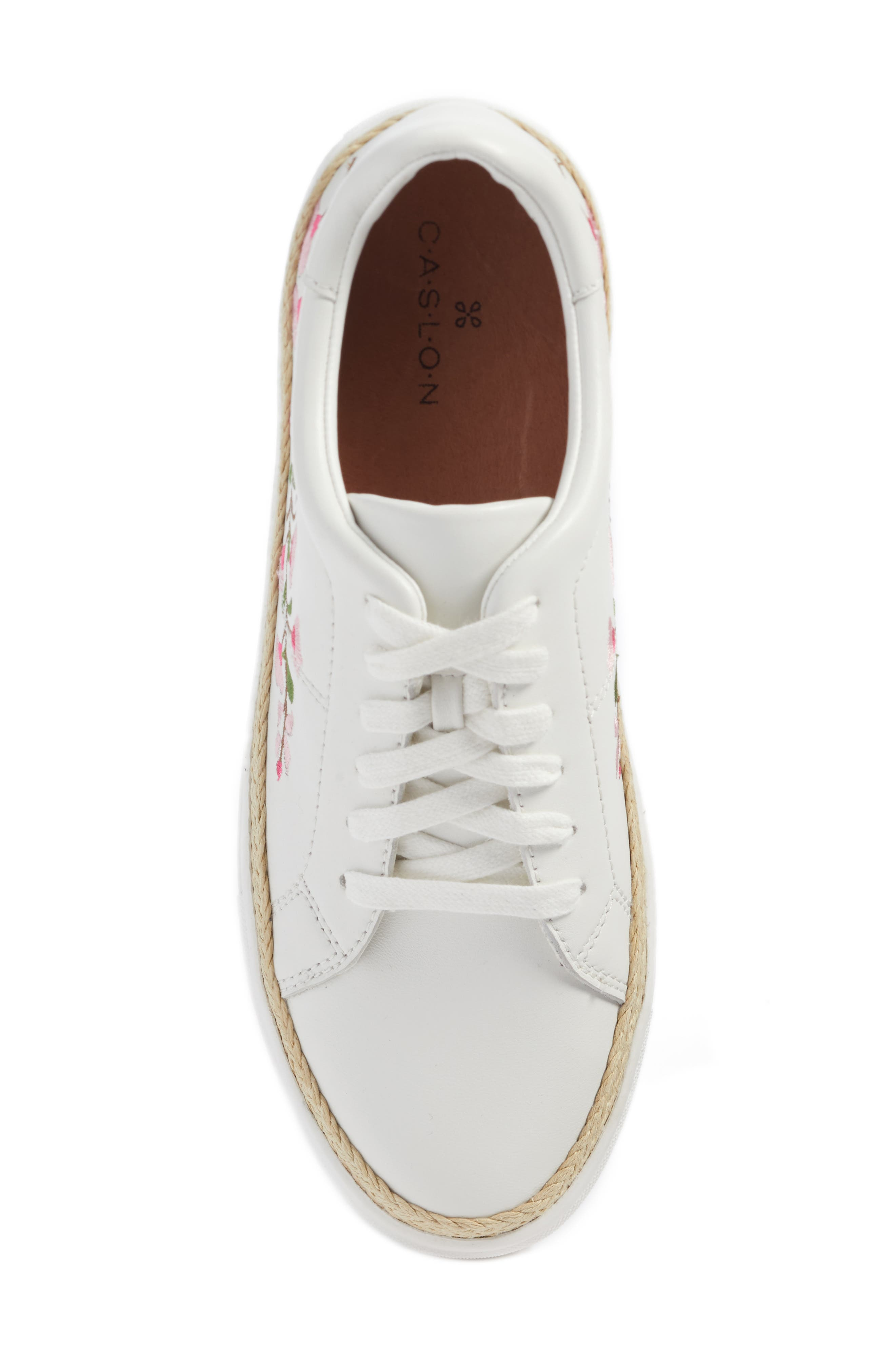 Perry Lea Embroidered Sneaker,                             Alternate thumbnail 4, color,                             White Leather