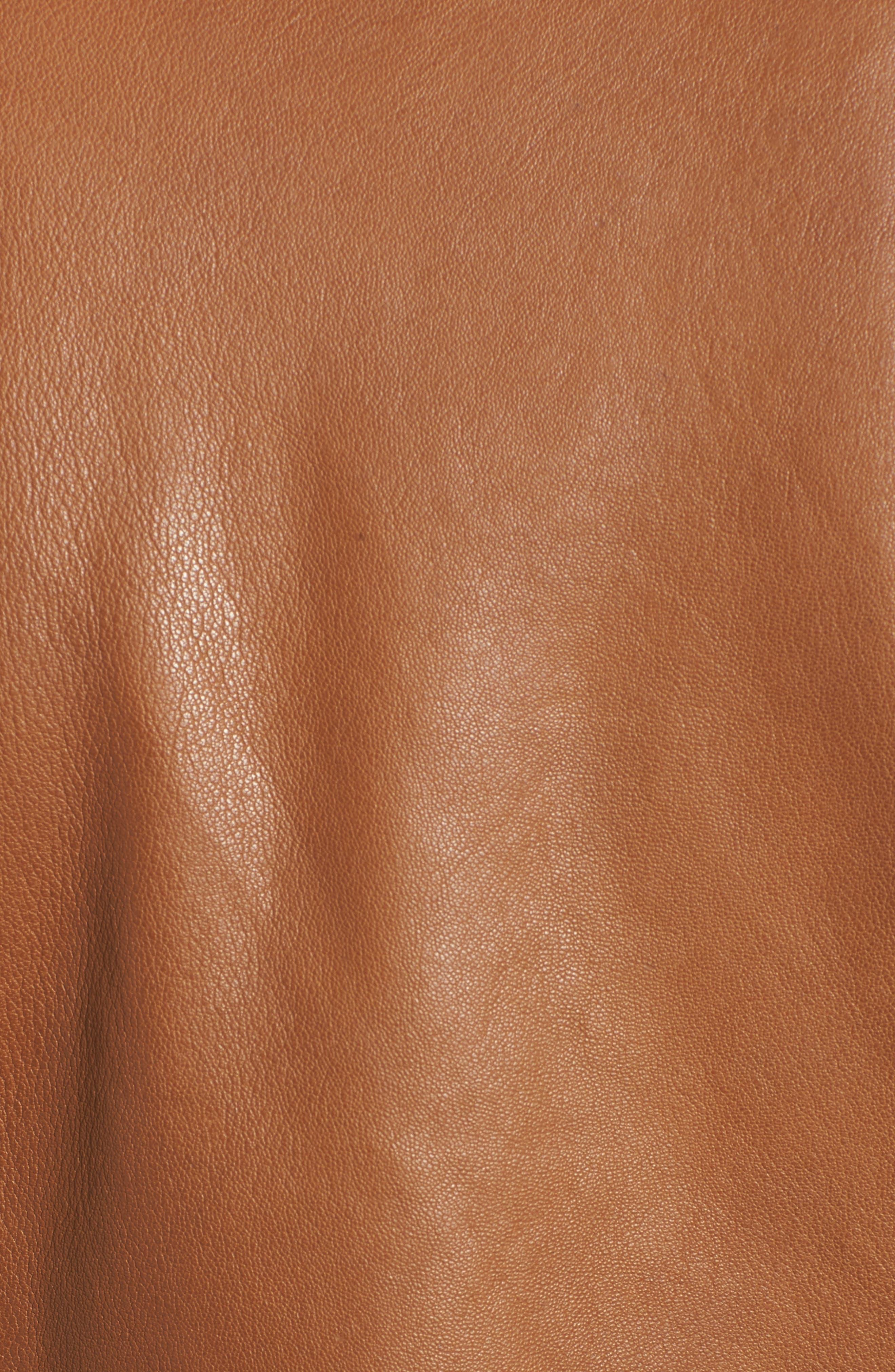 Kirwin Leather Moto Jacket,                             Alternate thumbnail 5, color,                             Pecan