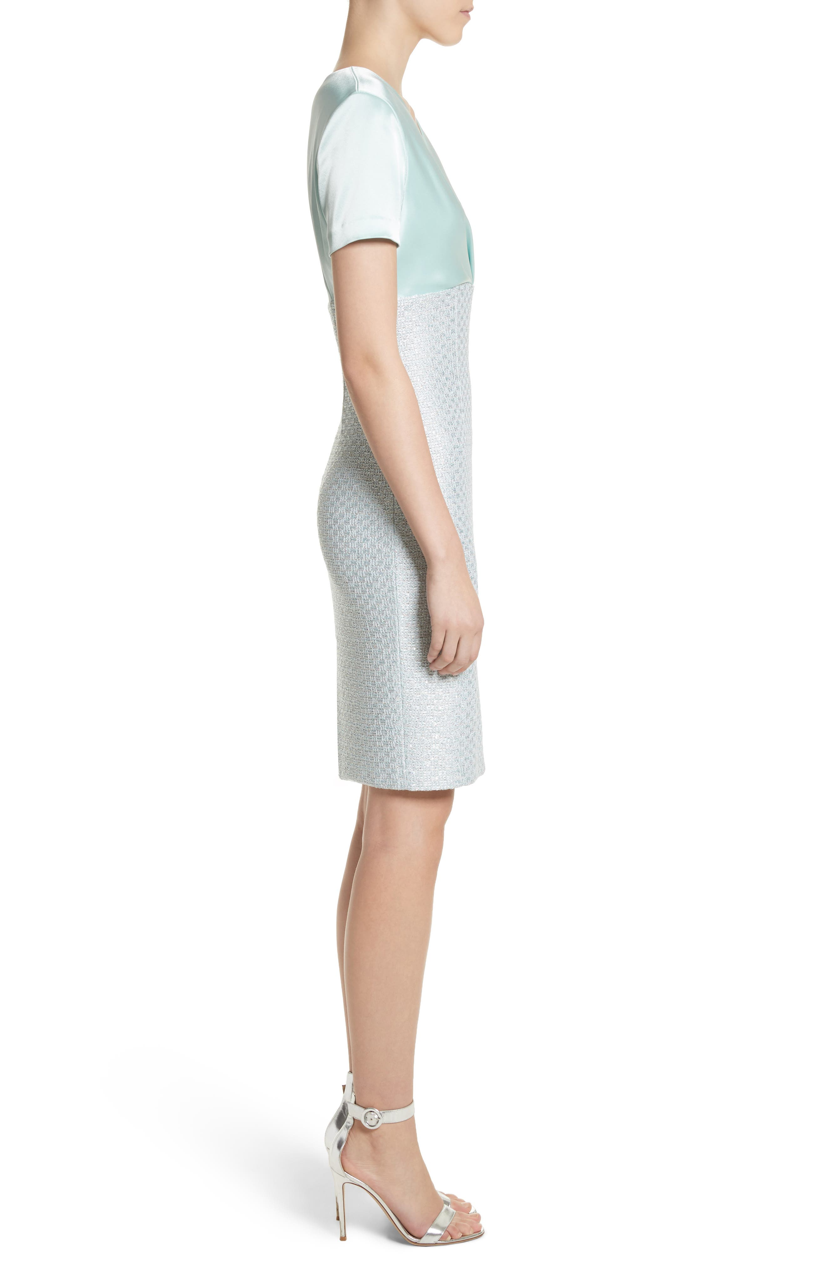 Hansh Satin & Knit Sheath Dress,                             Alternate thumbnail 3, color,                             Mint