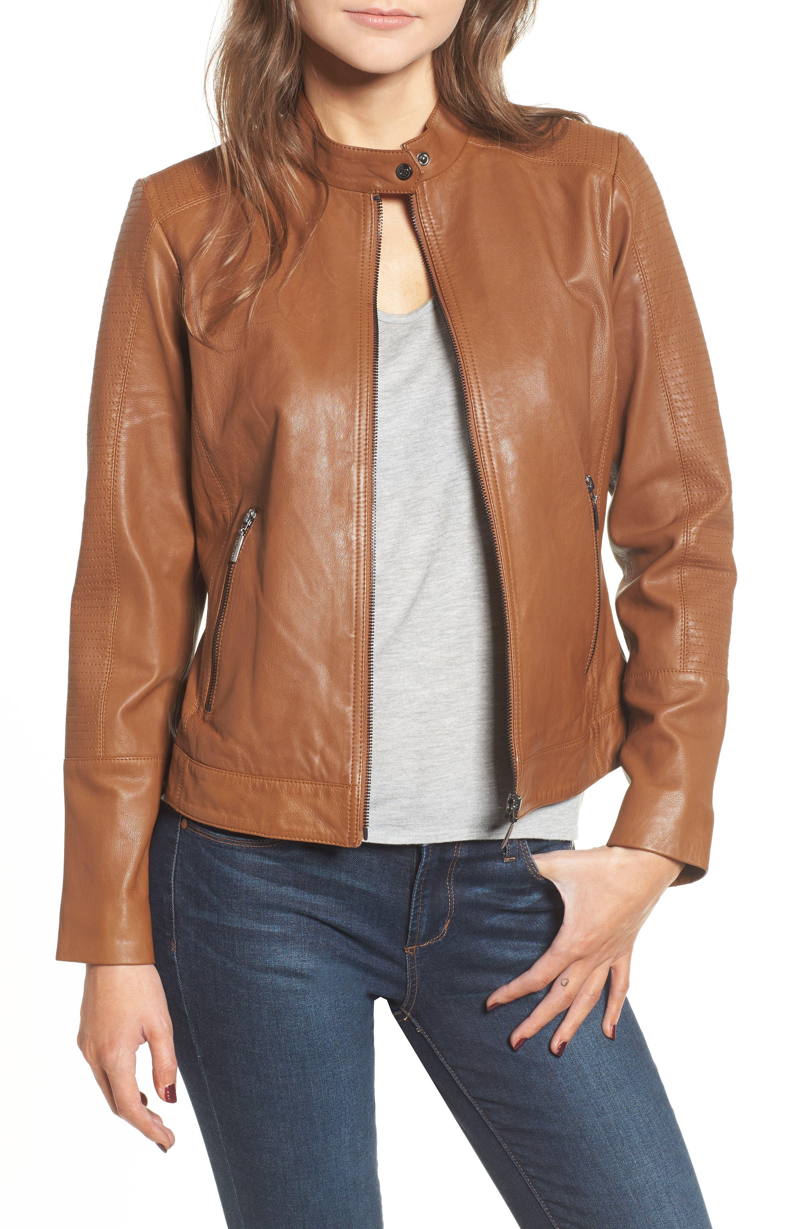 Kirwin Leather Moto Jacket,                             Main thumbnail 1, color,                             Pecan