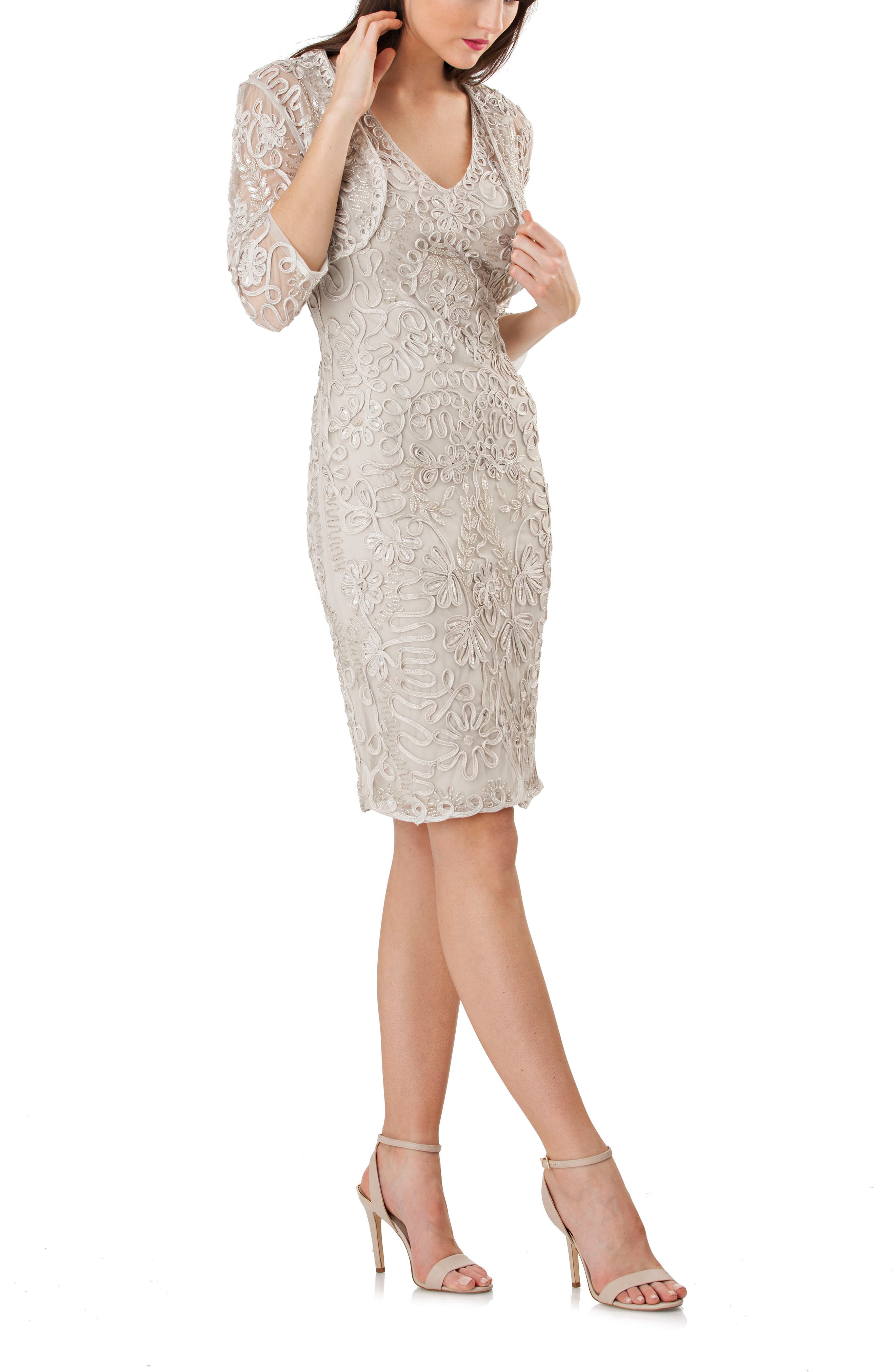 Soutache Bolero Sheath Dress,                         Main,                         color, Platinum