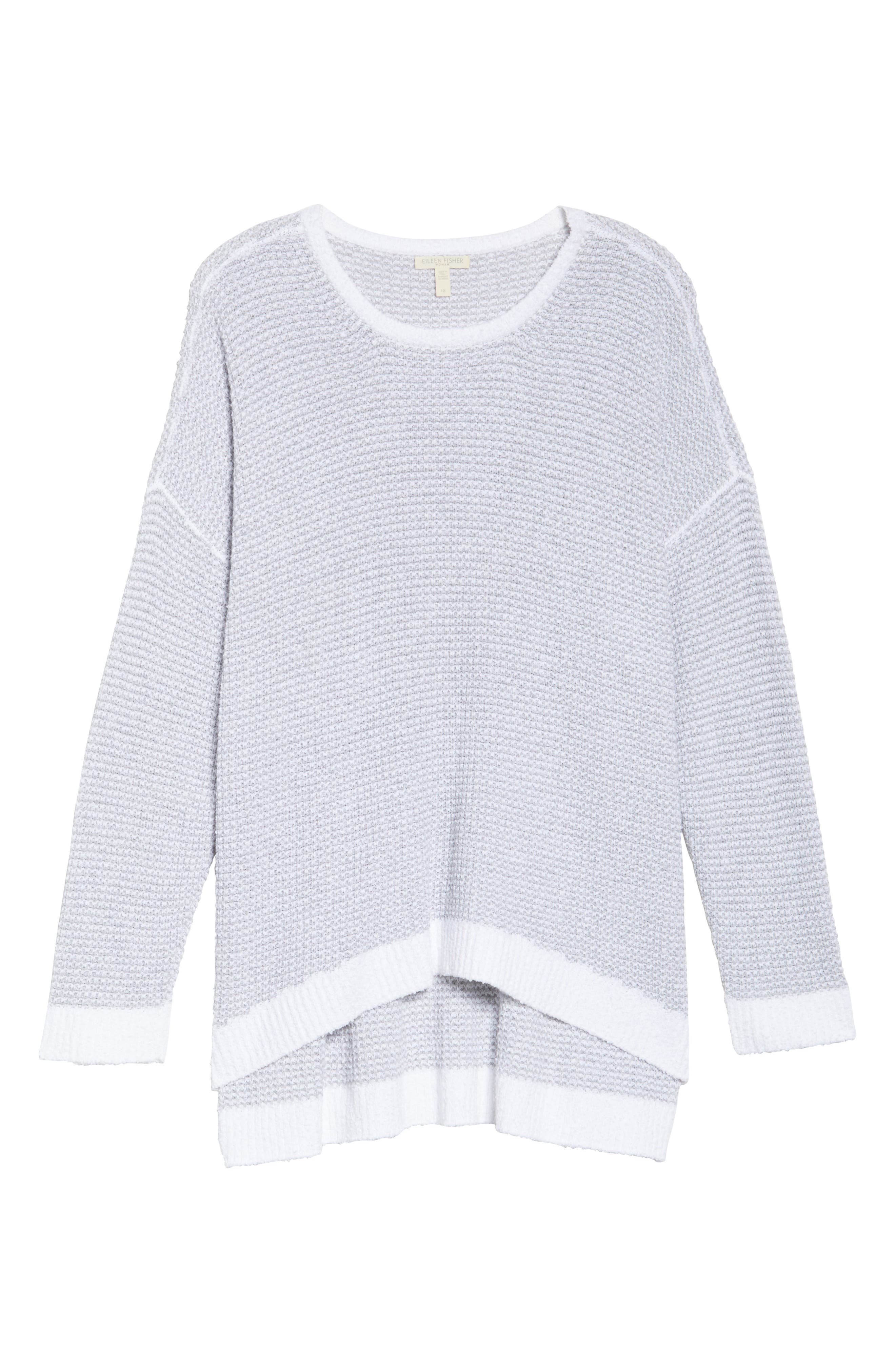 Waffled Organic Cotton Sweater,                             Alternate thumbnail 6, color,                             Grey