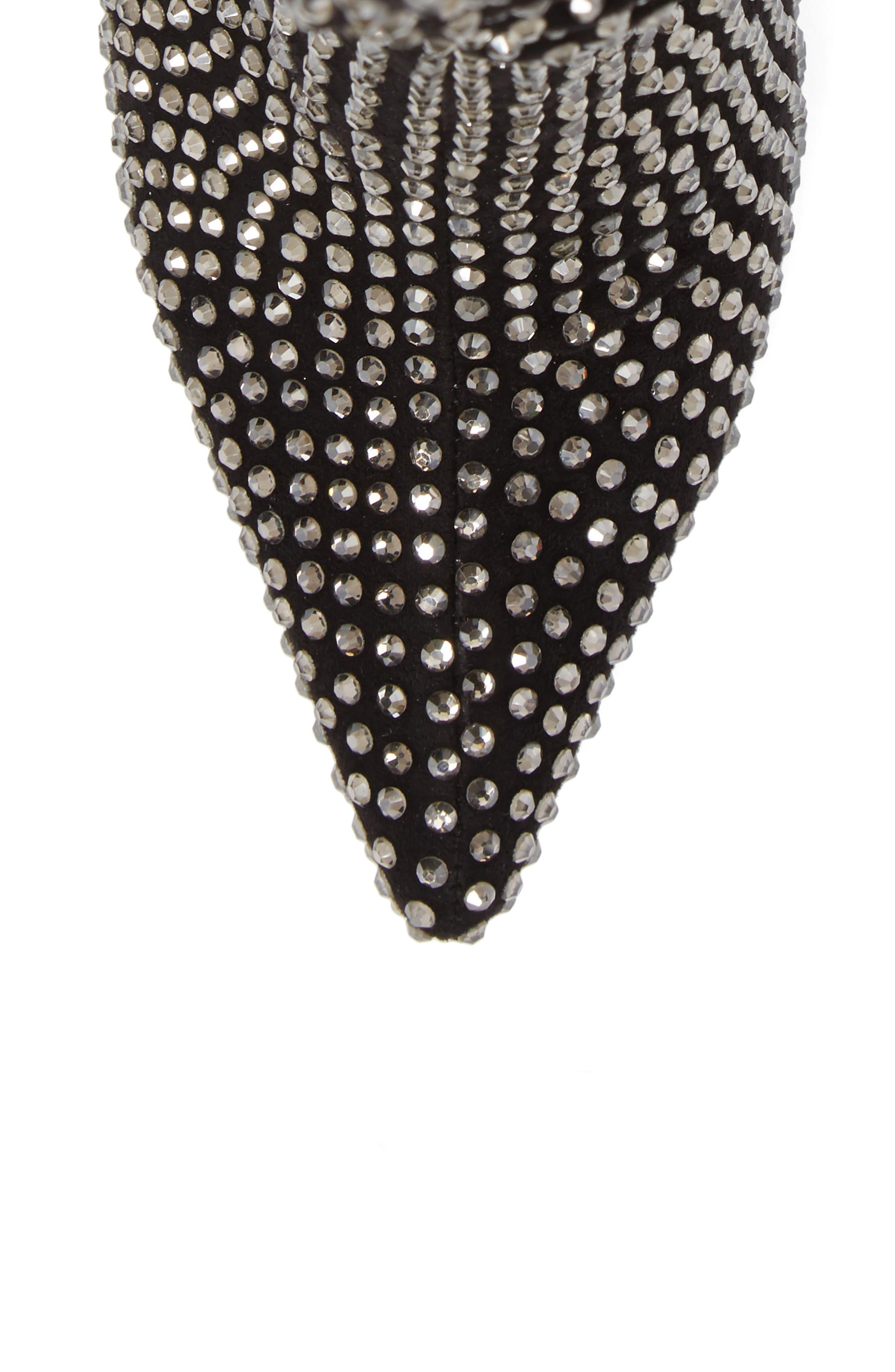 Die4U Crystal Embellished Slouch Boot,                             Alternate thumbnail 5, color,                             Black Suede Silver