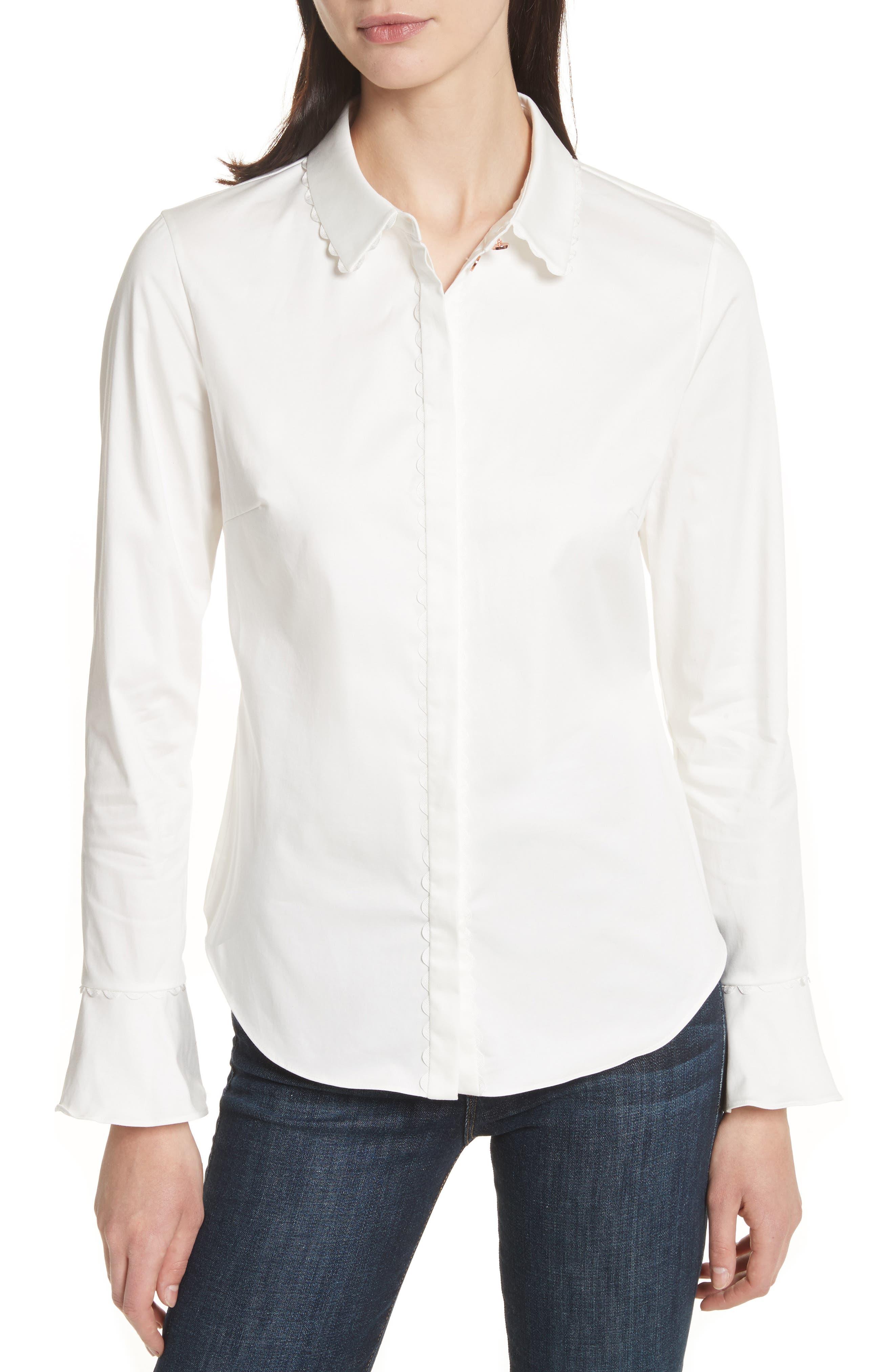 Fluted Scallop Trim Shirt,                         Main,                         color, White