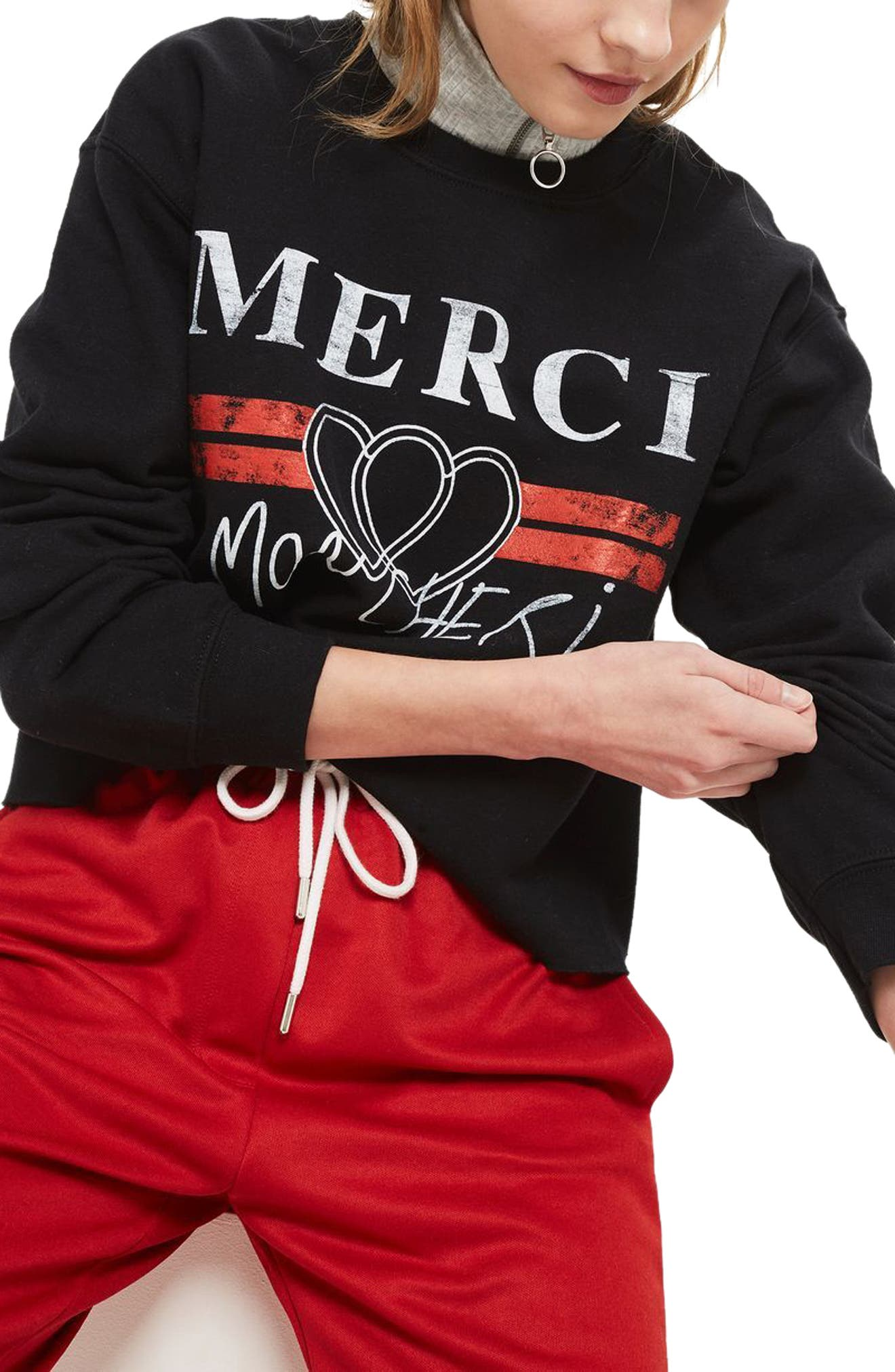 Merci Crop Sweatshirt,                             Alternate thumbnail 3, color,                             Black Multi