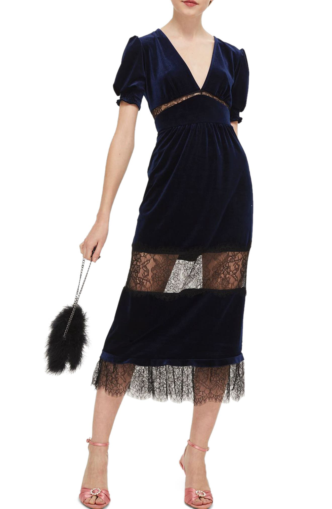 Velvet & Lace Puff Sleeve Midi Dress,                         Main,                         color, Navy Blue