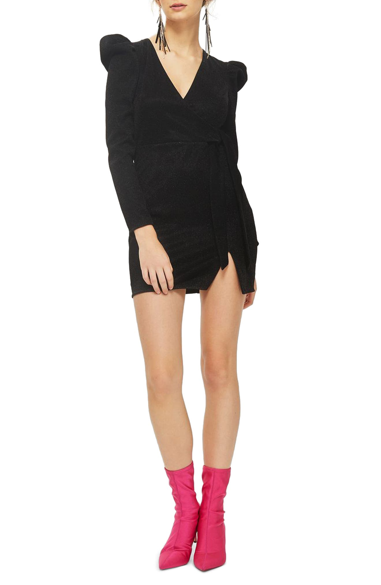 Tinsel Puff Shoulder Wrap Dress,                         Main,                         color, Black