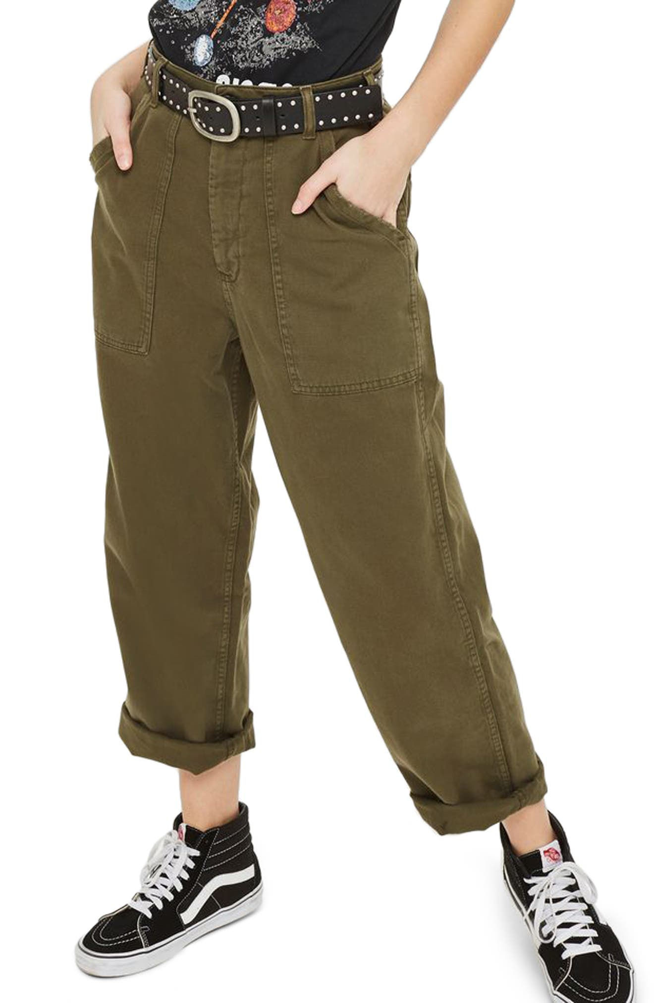 Wide Leg Utility Trousers,                         Main,                         color, Olive
