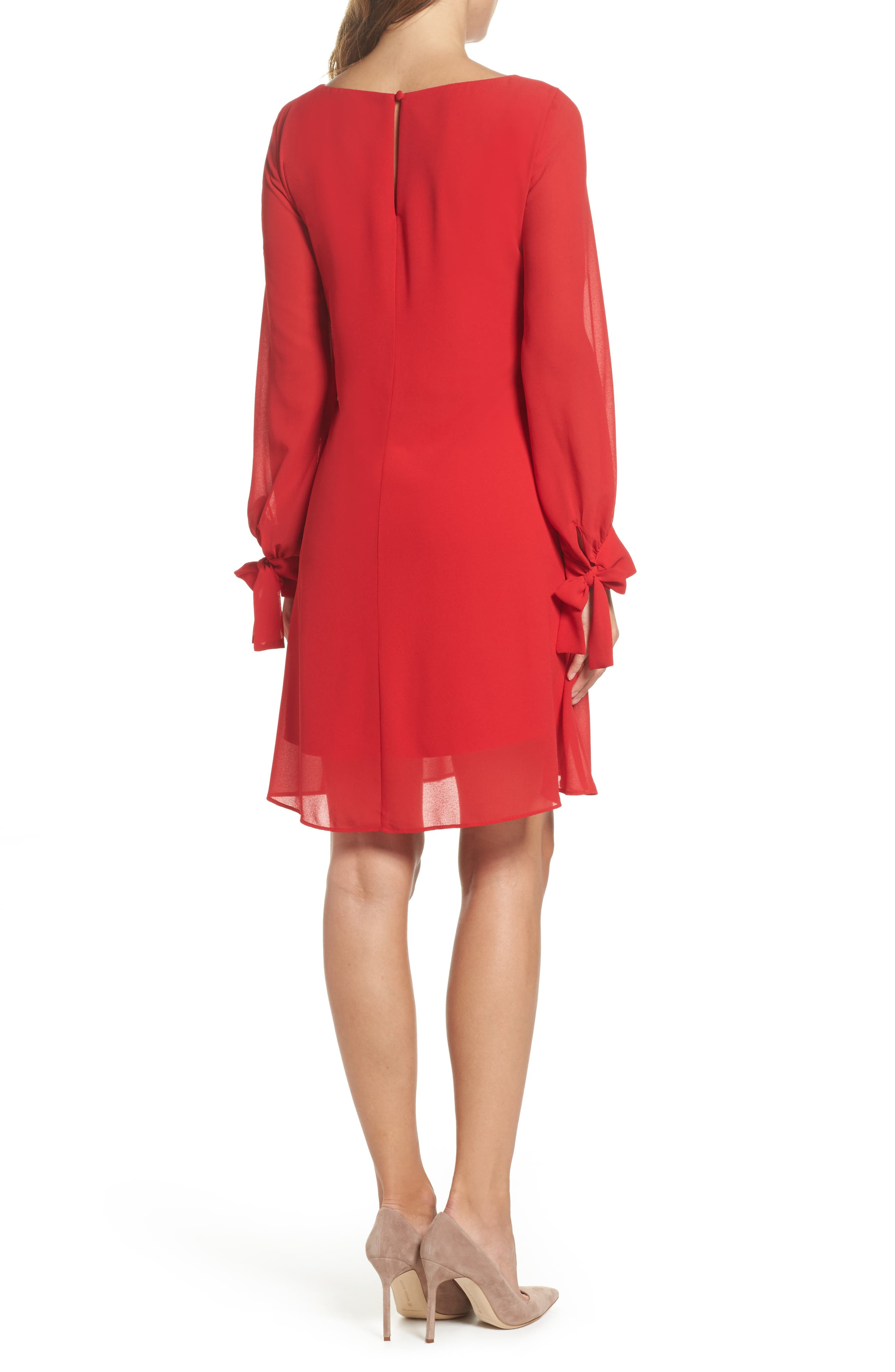 Souffle Chiffon Shift Dress,                             Alternate thumbnail 2, color,                             Crimson