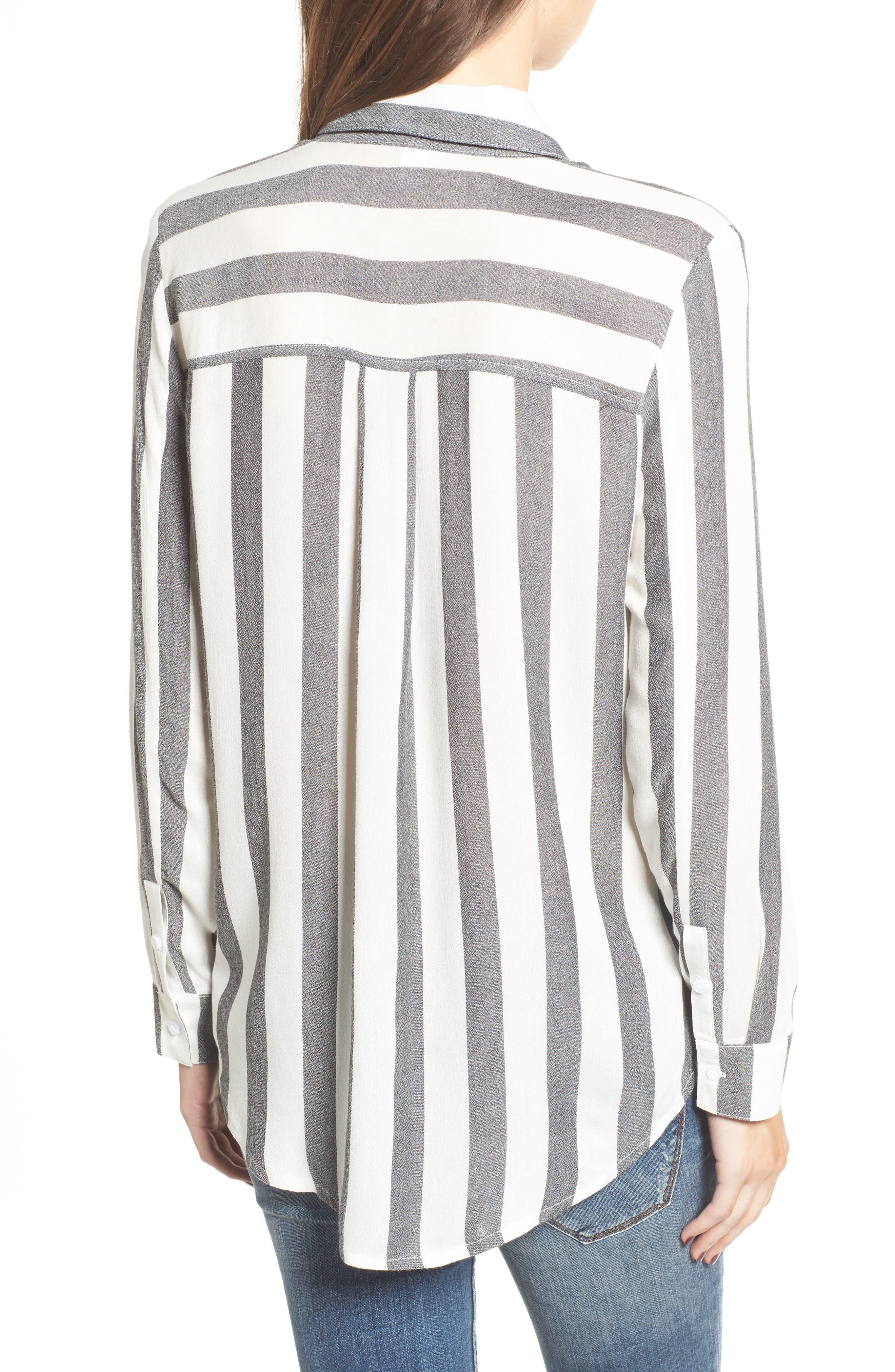 The Perfect Shirt,                             Alternate thumbnail 2, color,                             Black Flora Stripe