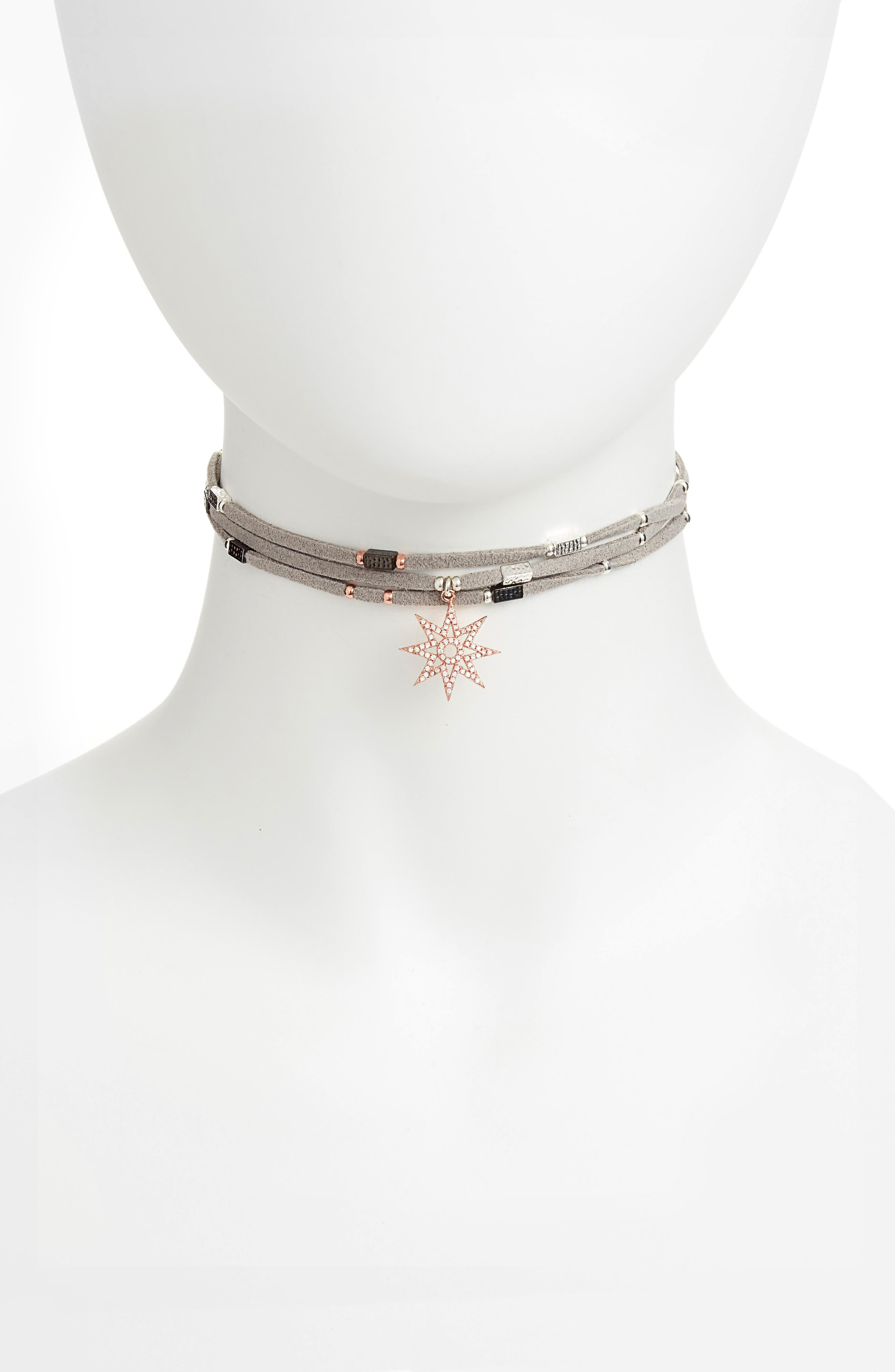 Star Charm Choker,                         Main,                         color, Grey