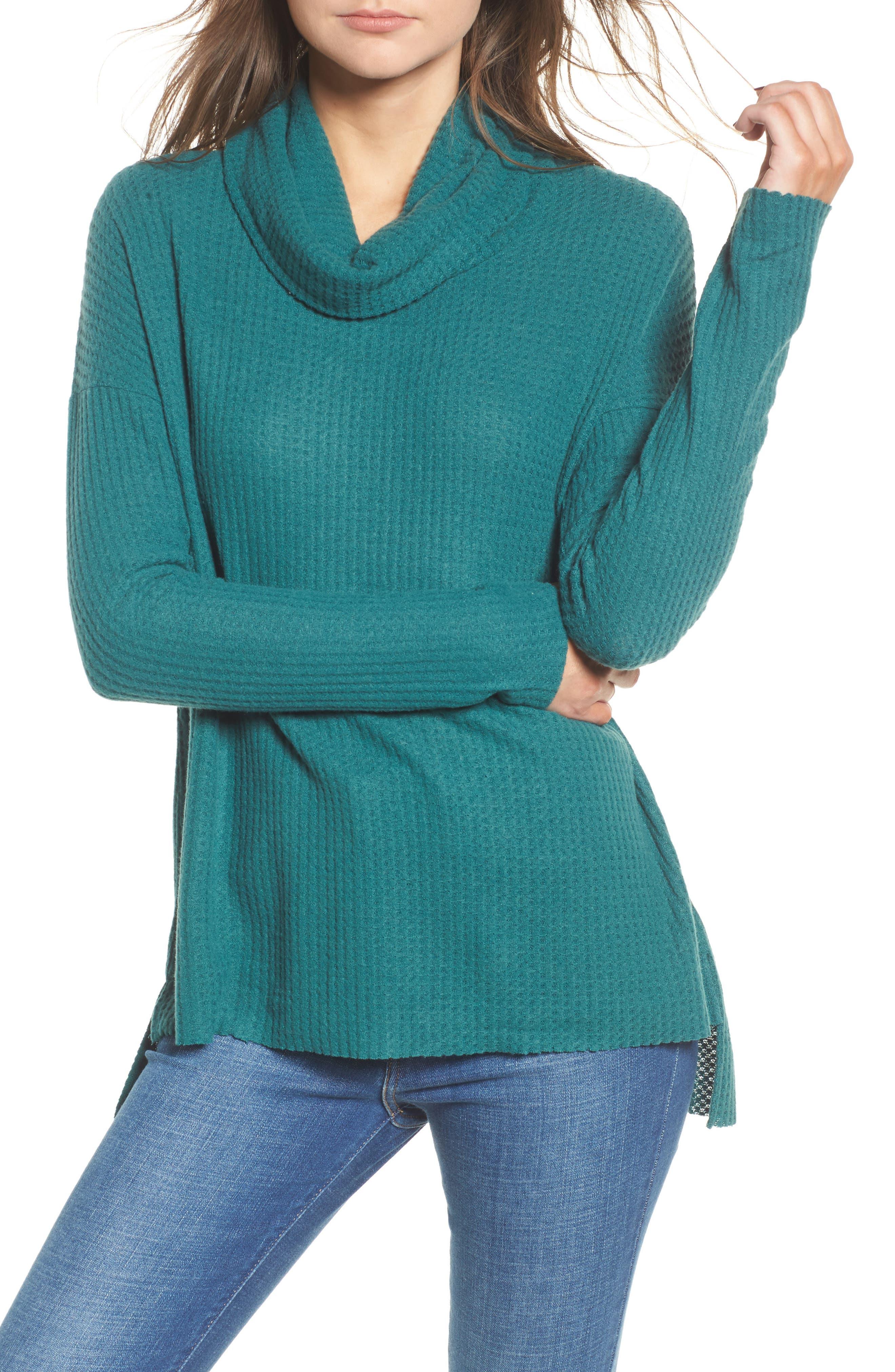 Funnel Neck Tunic,                         Main,                         color, Green Jasper