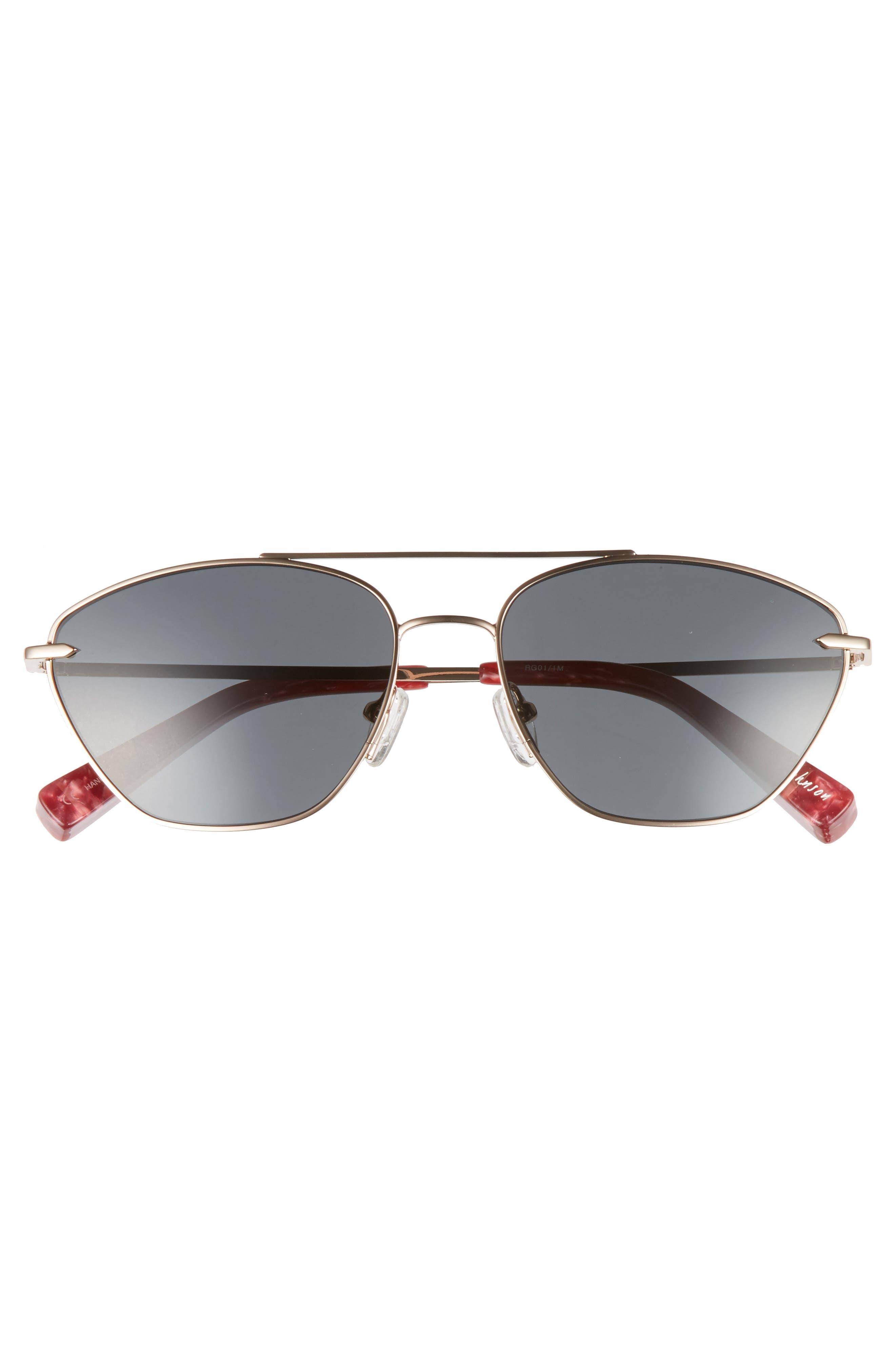 Johnson 56mm Navigator Sunglasses,                             Alternate thumbnail 3, color,                             Rose Gold/ Smoke