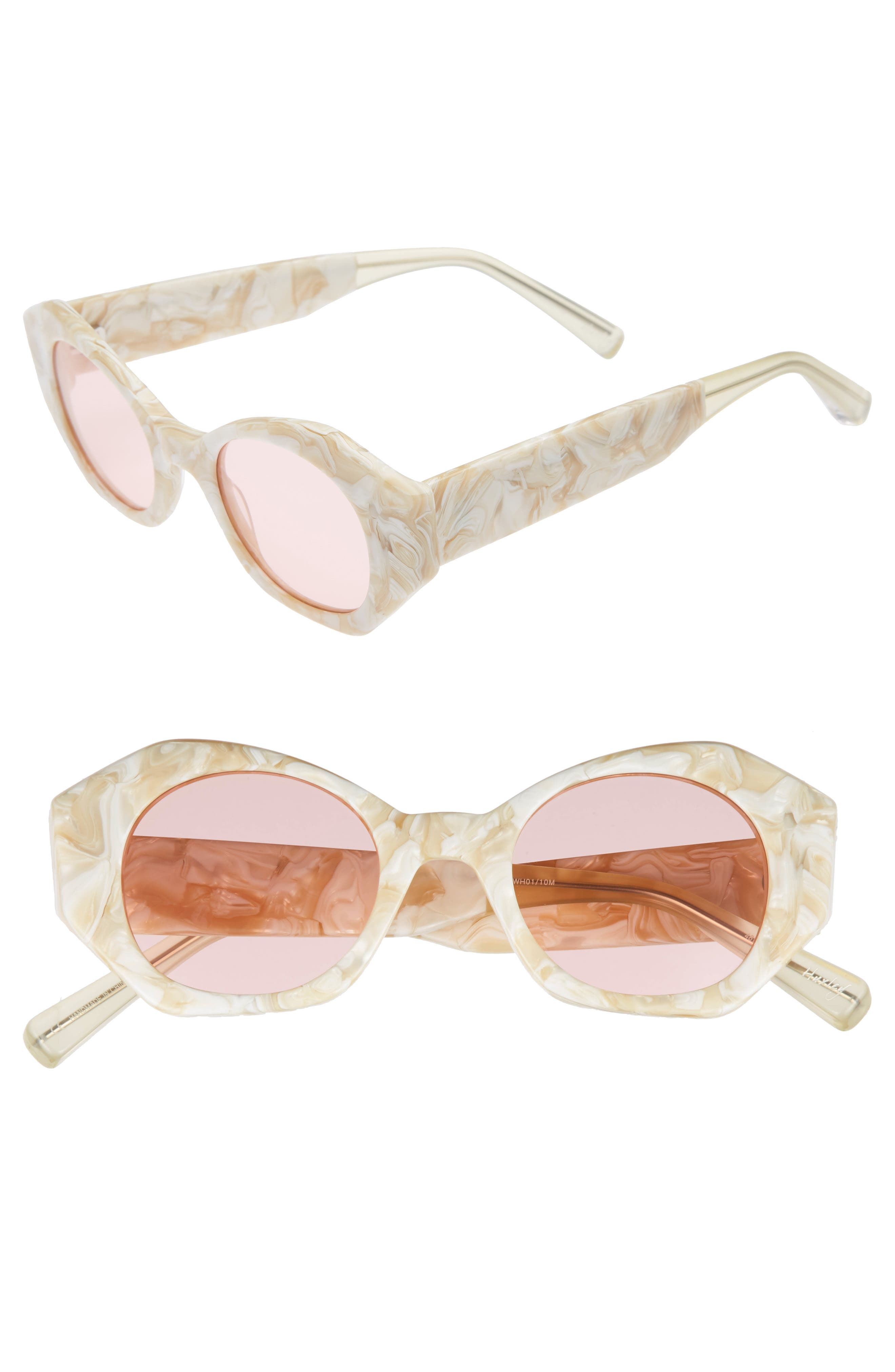 Huxley 46mm Geometric Sunglasses,                             Main thumbnail 1, color,                             White/ Pink