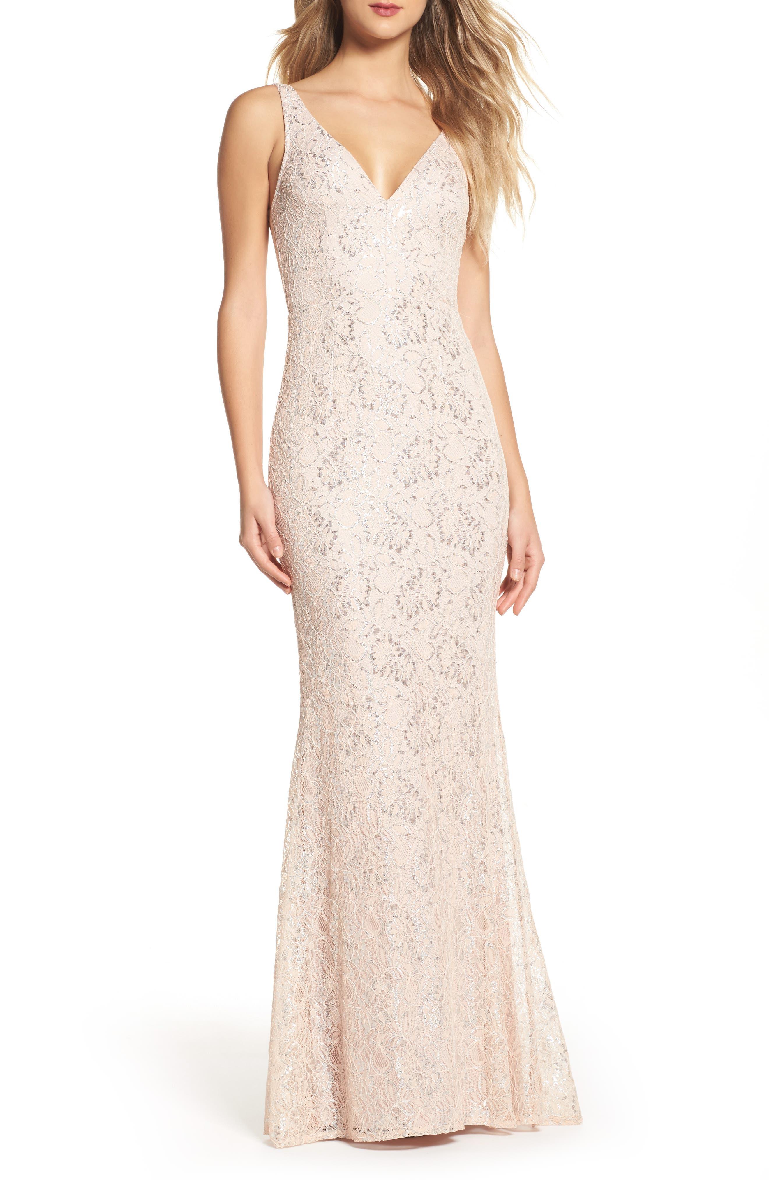 Foil Lace Mermaid Gown,                         Main,                         color, Blush