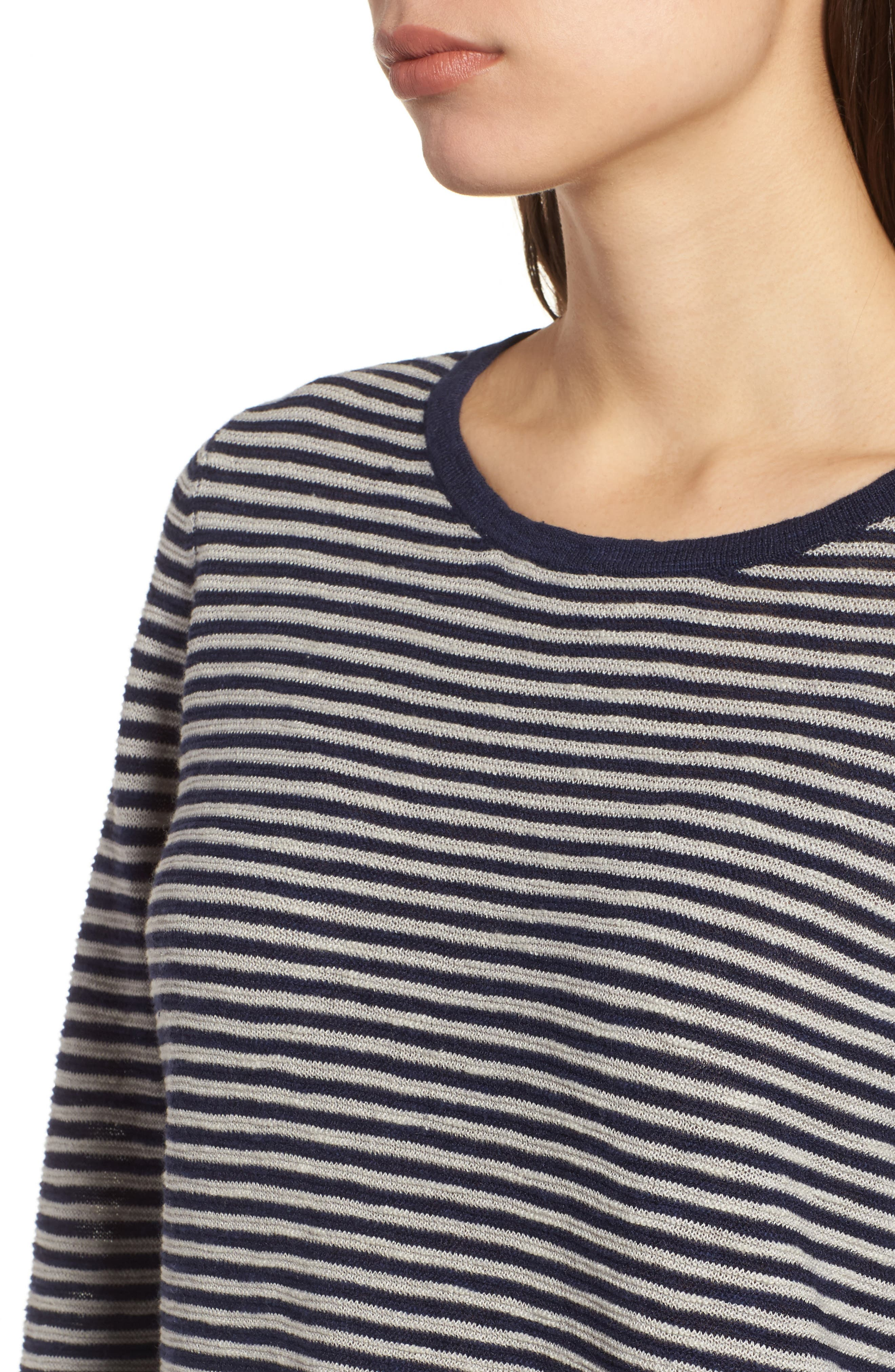 Stripe Organic Linen & Cotton Sweater,                             Alternate thumbnail 4, color,                             Midnight