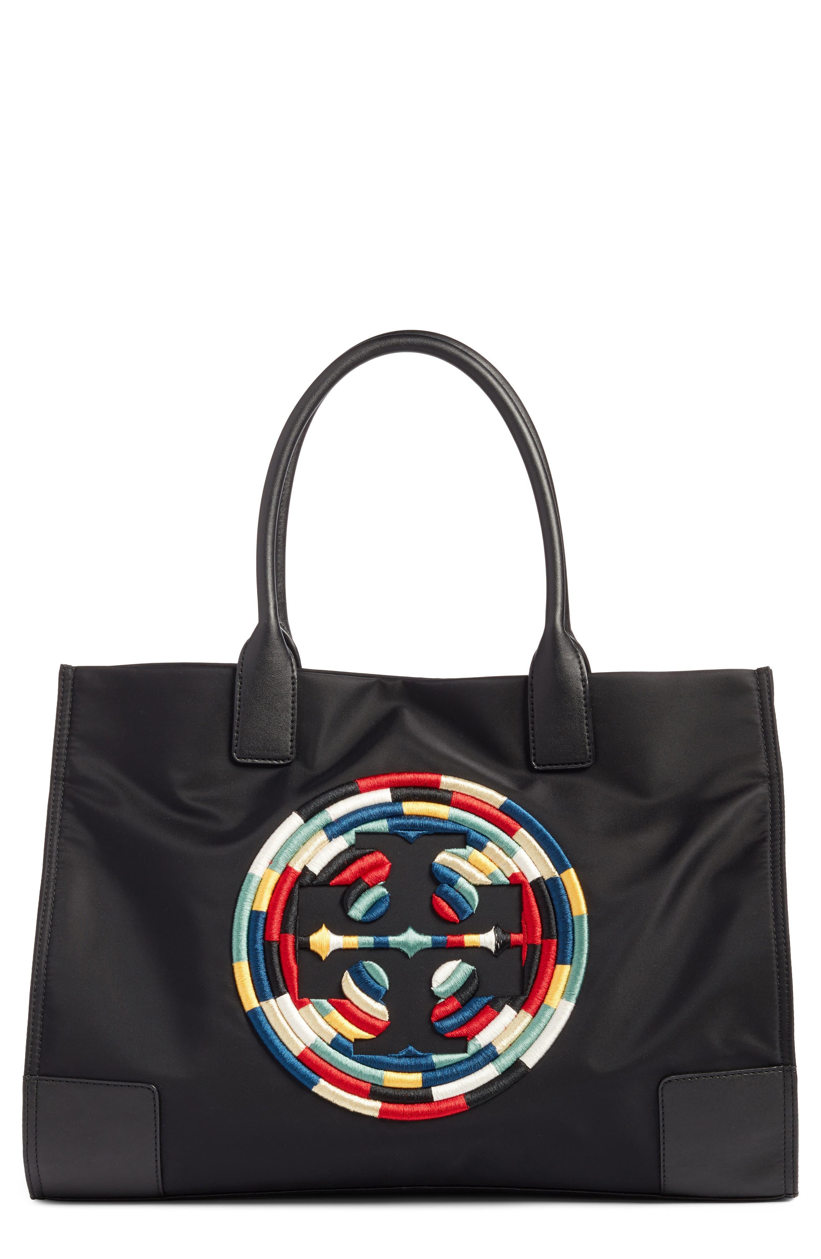 Tory Burch Ella Embroidered Logo Nylon Tote