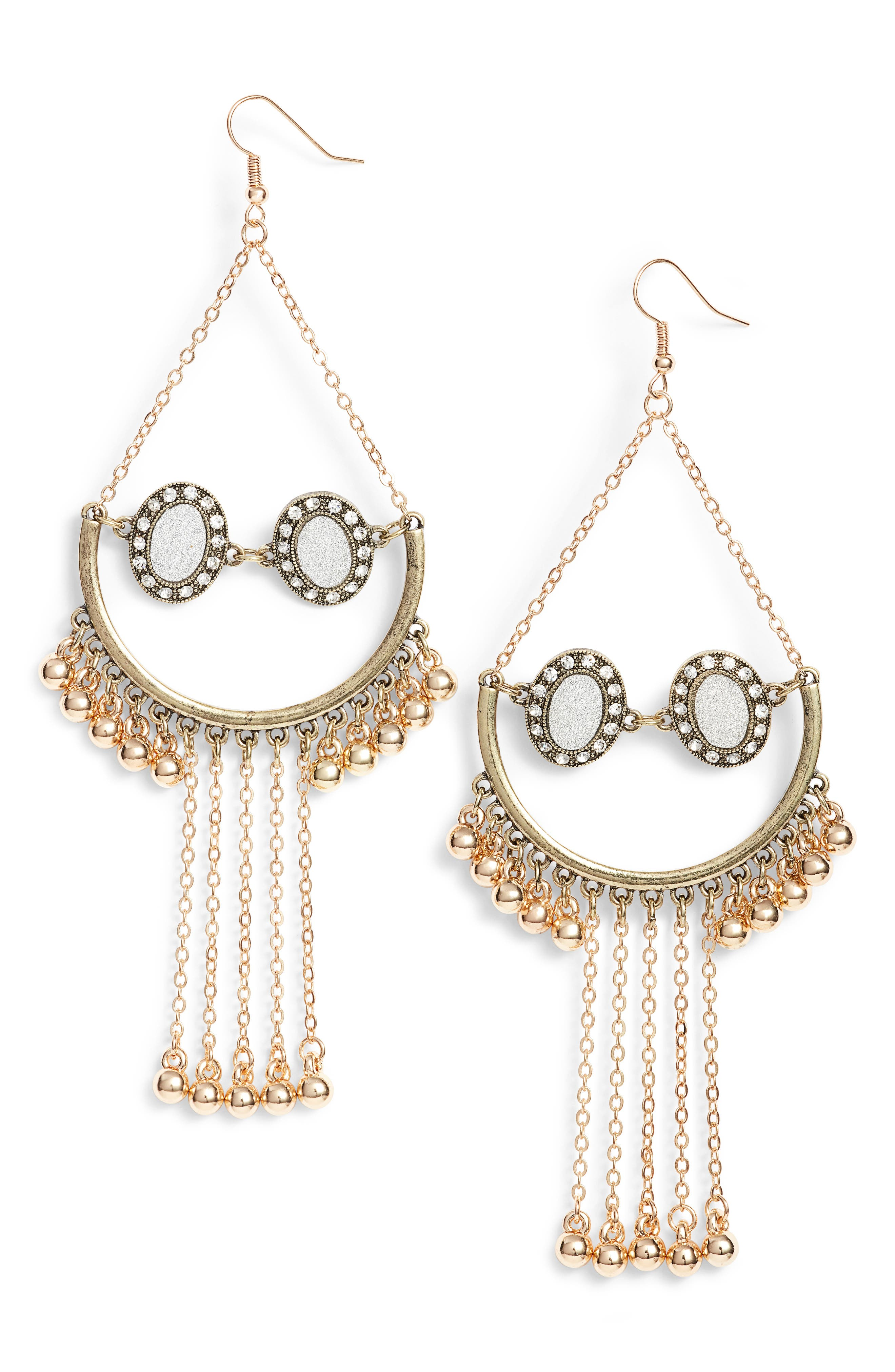 Tassel Statement Earrings,                         Main,                         color, Gold/ Crystal