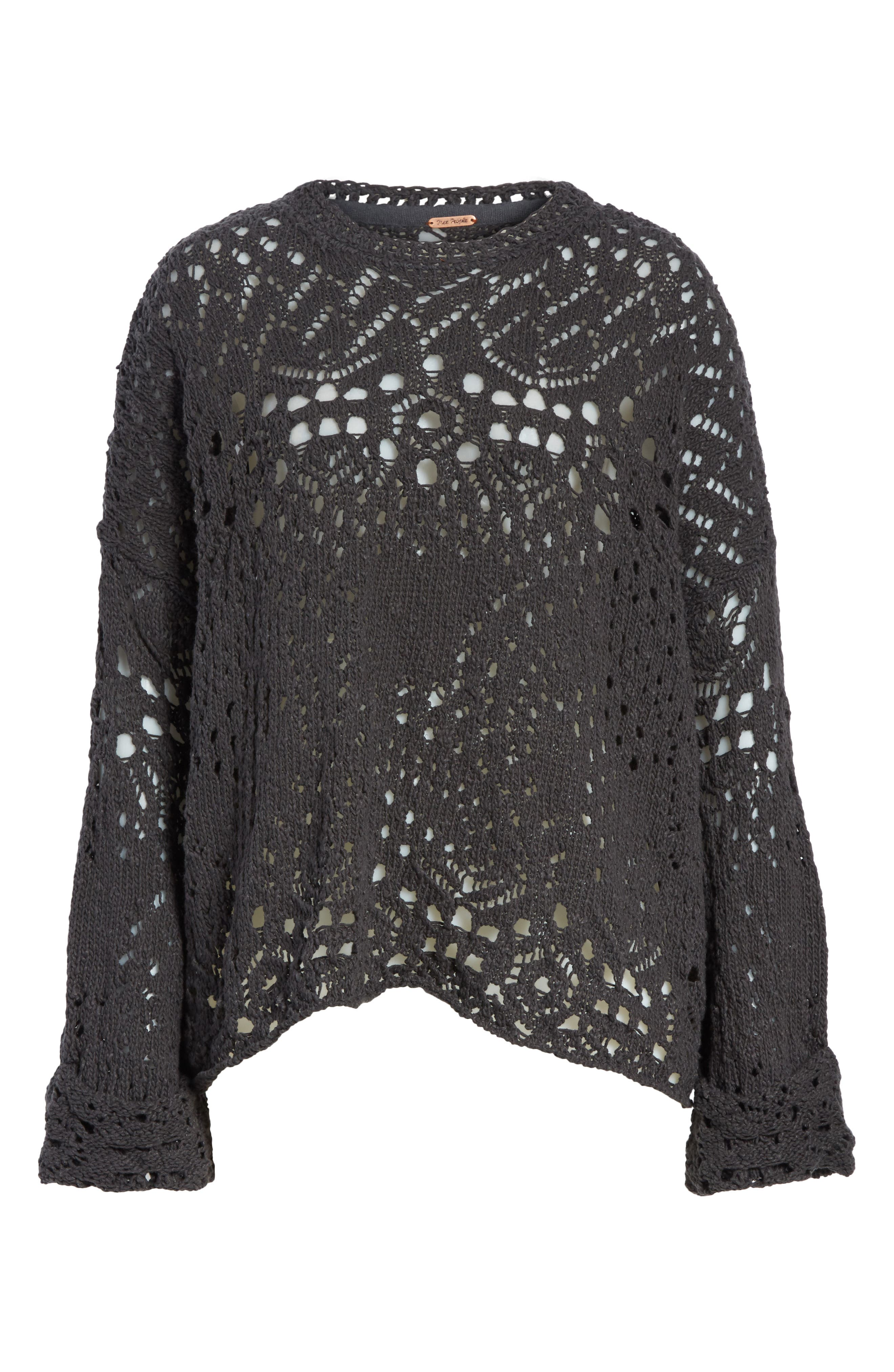 Traveling Lace Sweater,                             Alternate thumbnail 6, color,                             Carbon