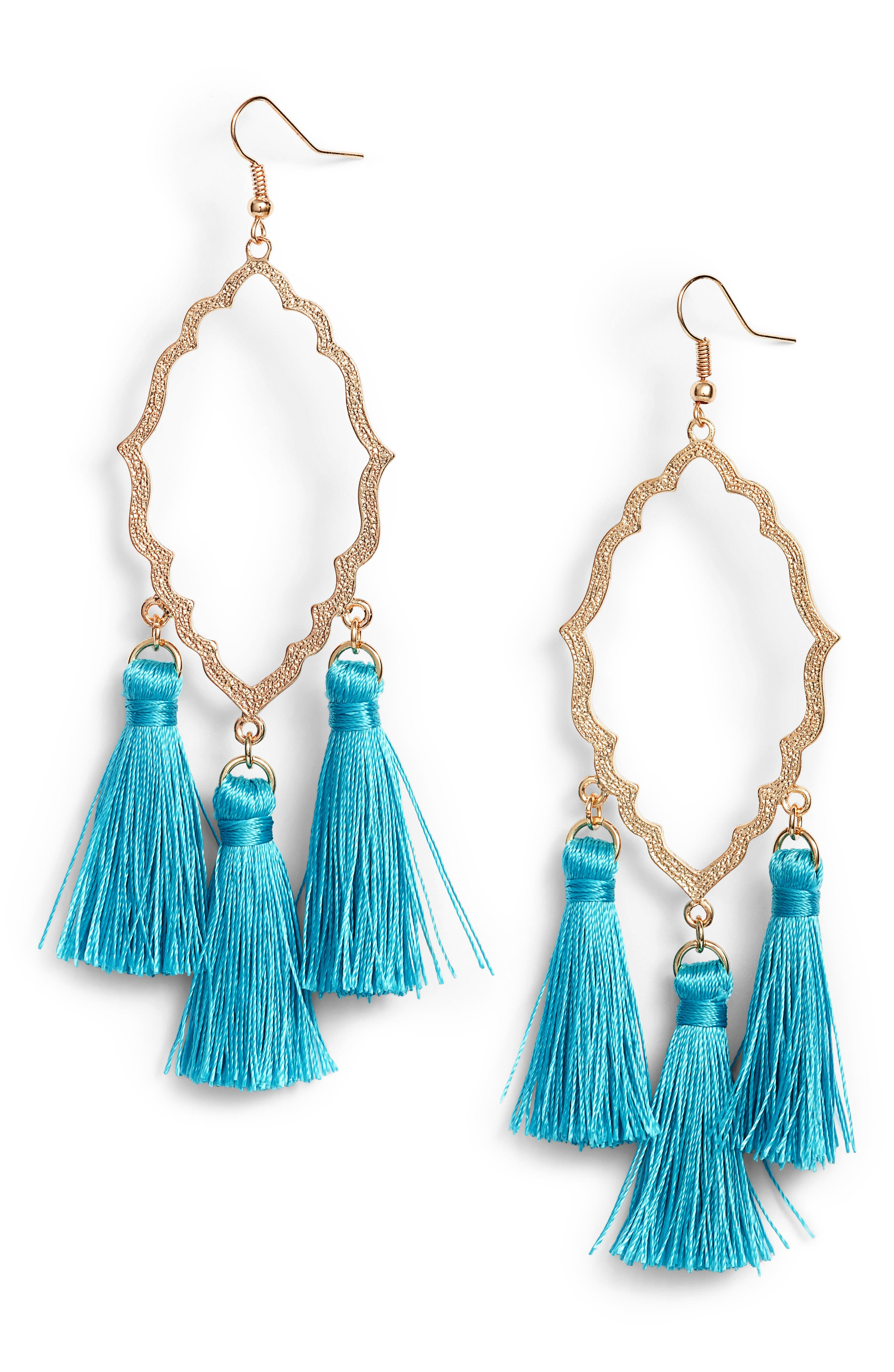 Medallion Tassel Earrings,                             Main thumbnail 1, color,                             Teal