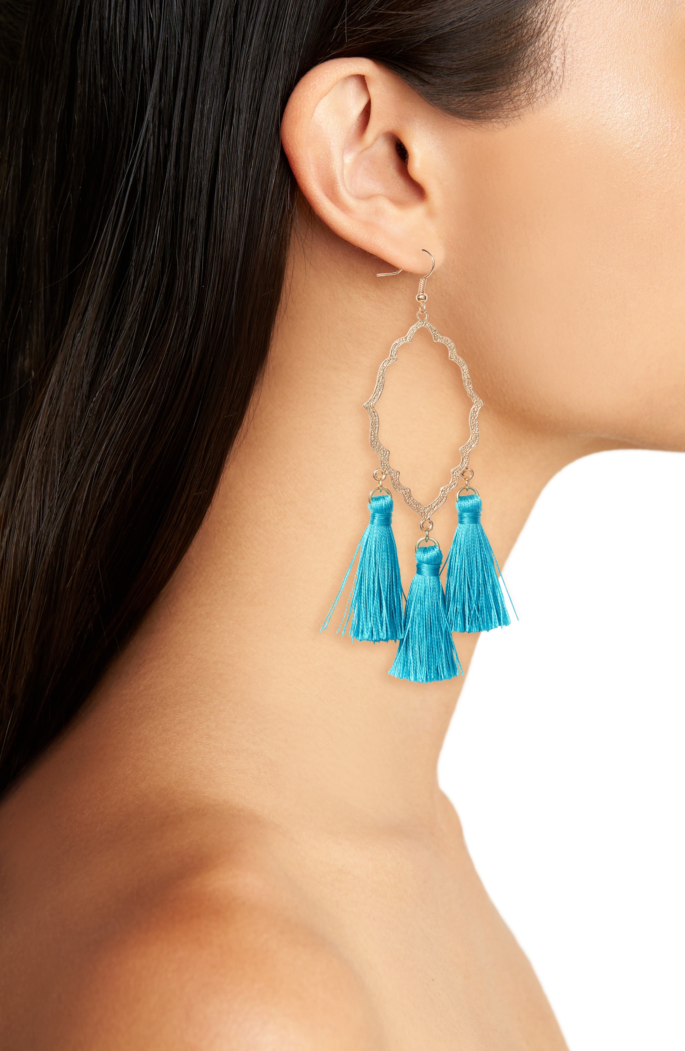 Medallion Tassel Earrings,                             Alternate thumbnail 2, color,                             Teal