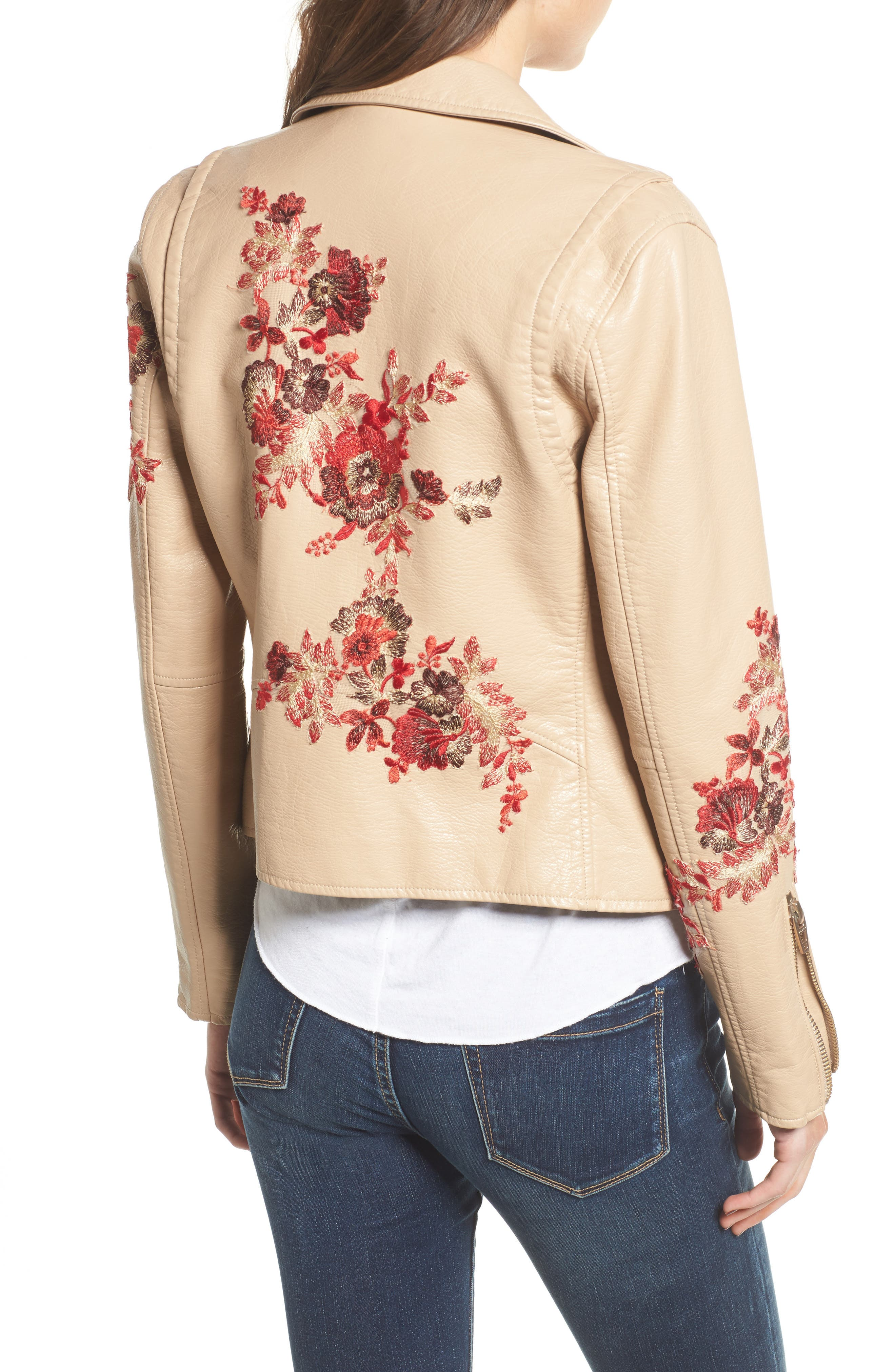 Embroidered Moto Jacket,                             Alternate thumbnail 2, color,                             Wildflower