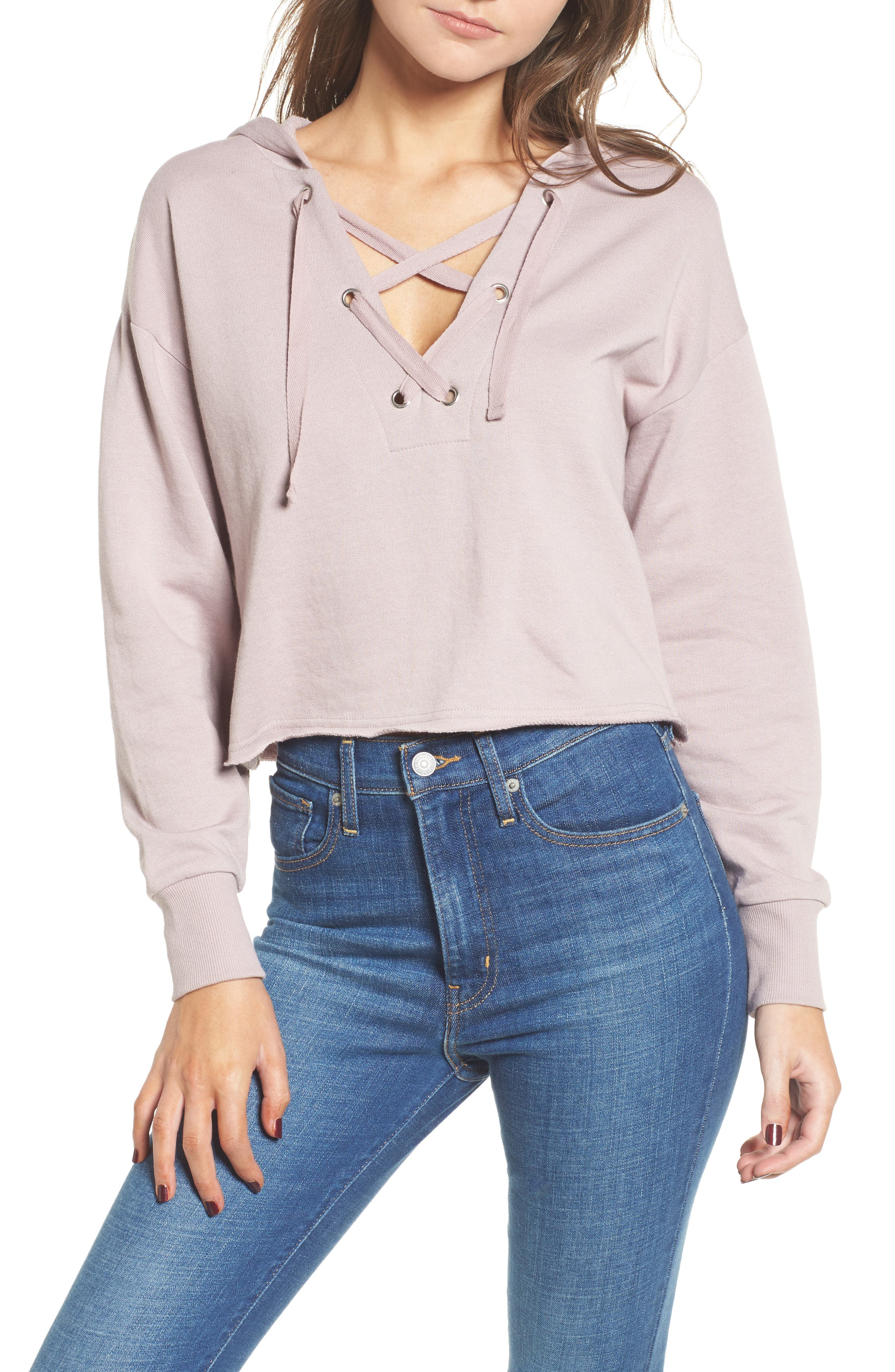 Lace-Up Hoodie,                         Main,                         color, Lilac
