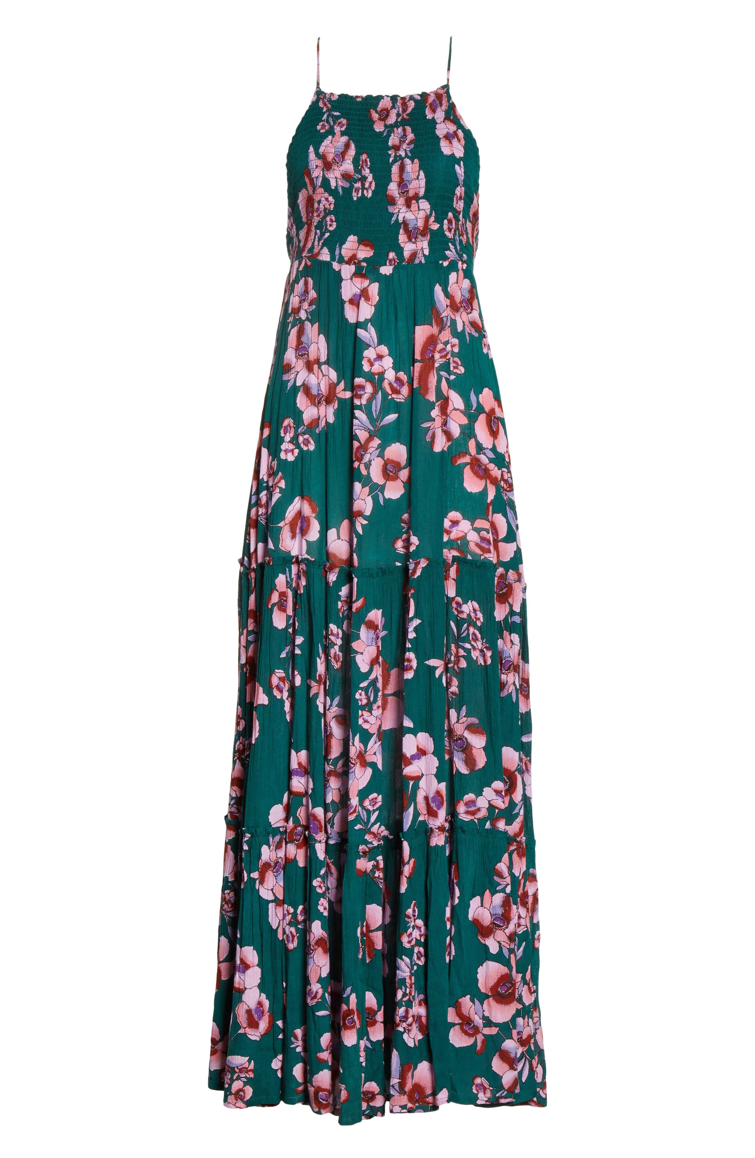 Garden Party Maxi Dress,                             Alternate thumbnail 6, color,                             Turquoise