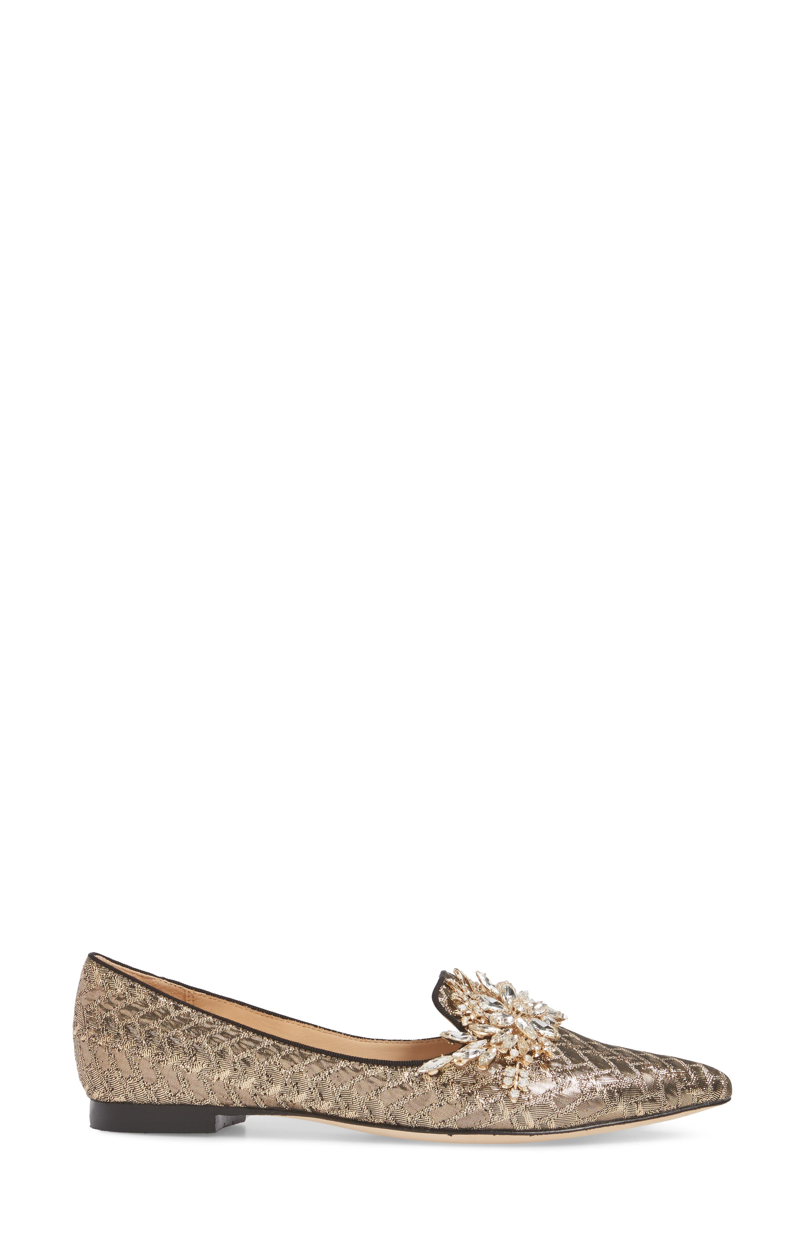 Mandy Embellished Loafer Flat,                             Alternate thumbnail 3, color,                             Antique Gold
