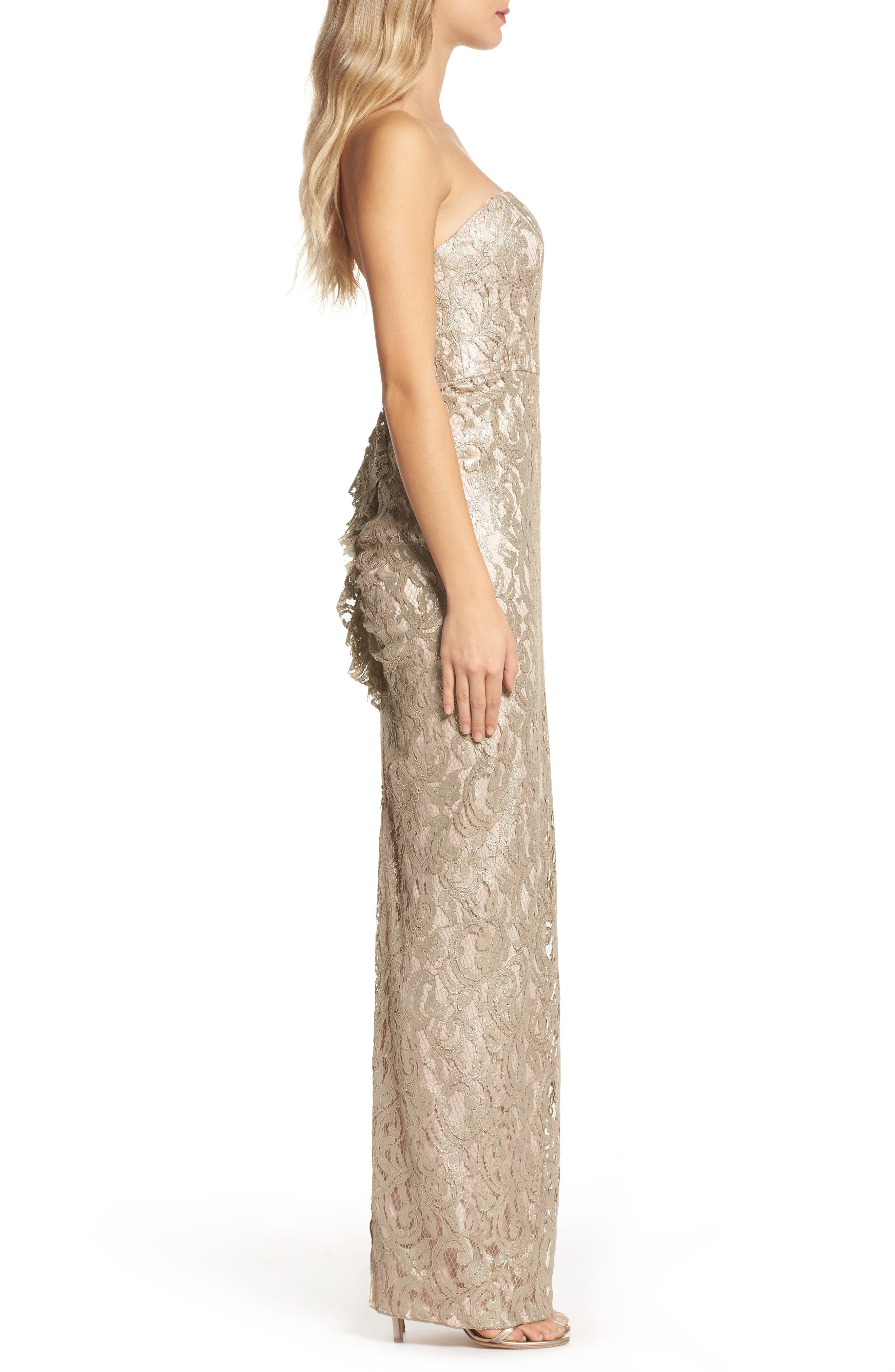Starla Ruffle Back Strapless Lace Gown,                             Alternate thumbnail 3, color,                             Gold
