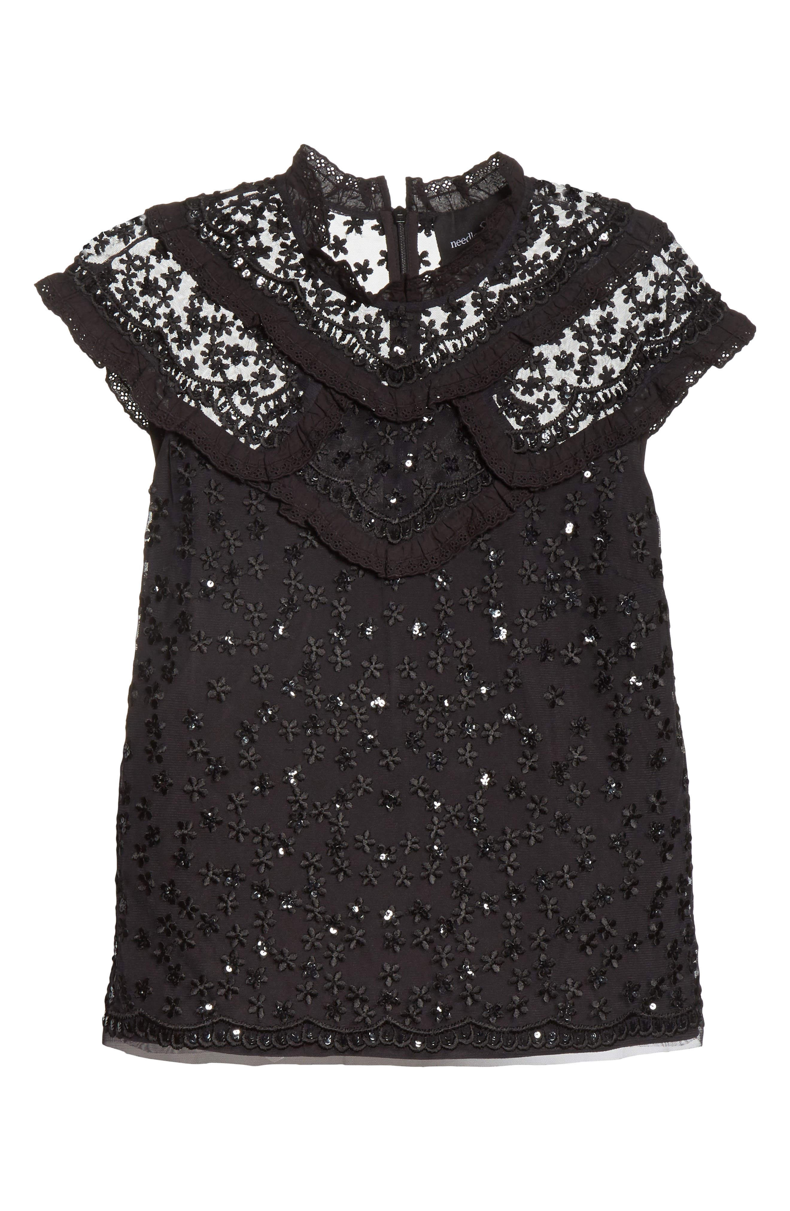 Daisy Sequin Embroidered Top,                             Alternate thumbnail 6, color,                             Washed Black