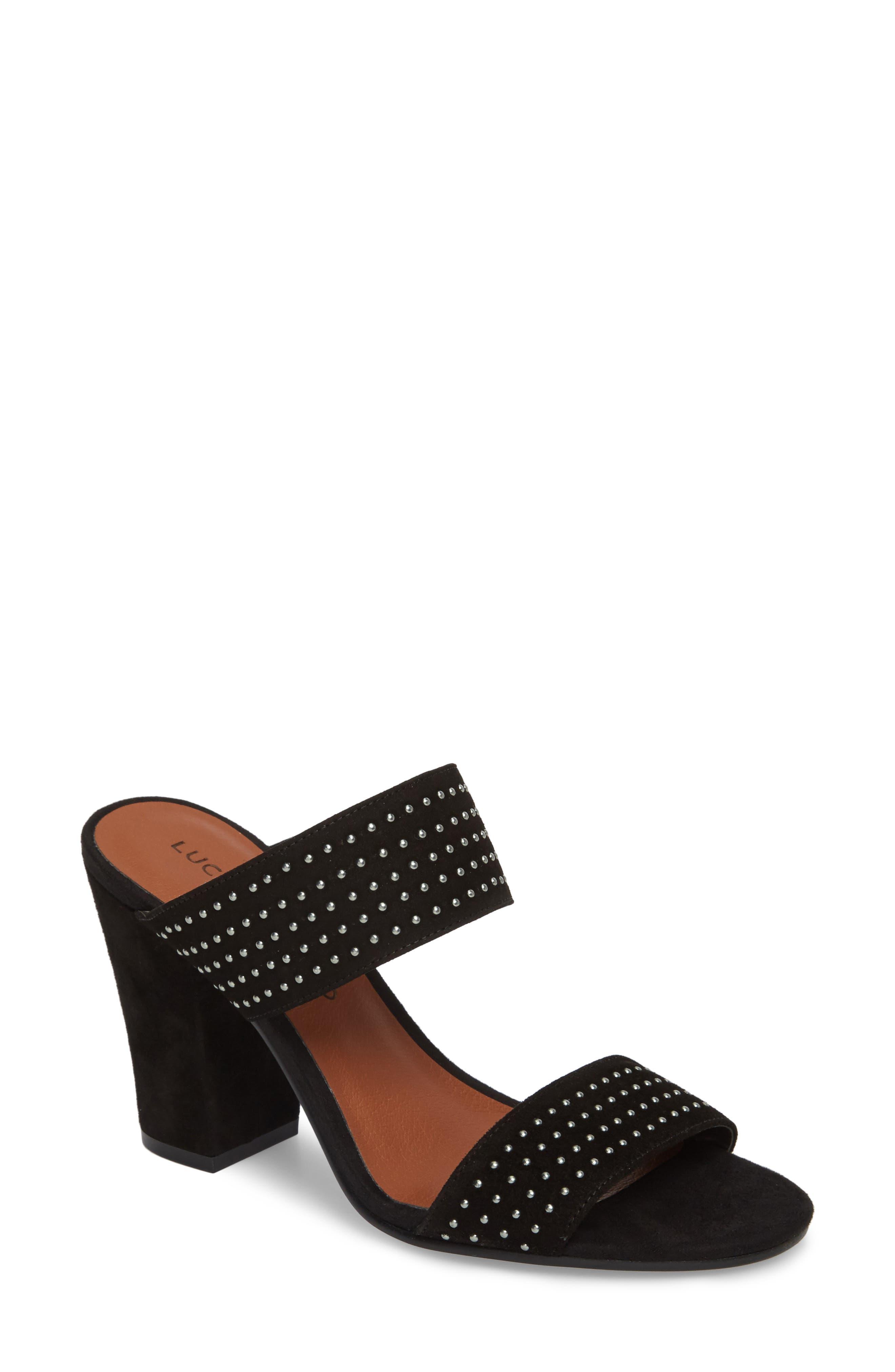 Mkennah Slide Sandal,                         Main,                         color, Black Suede