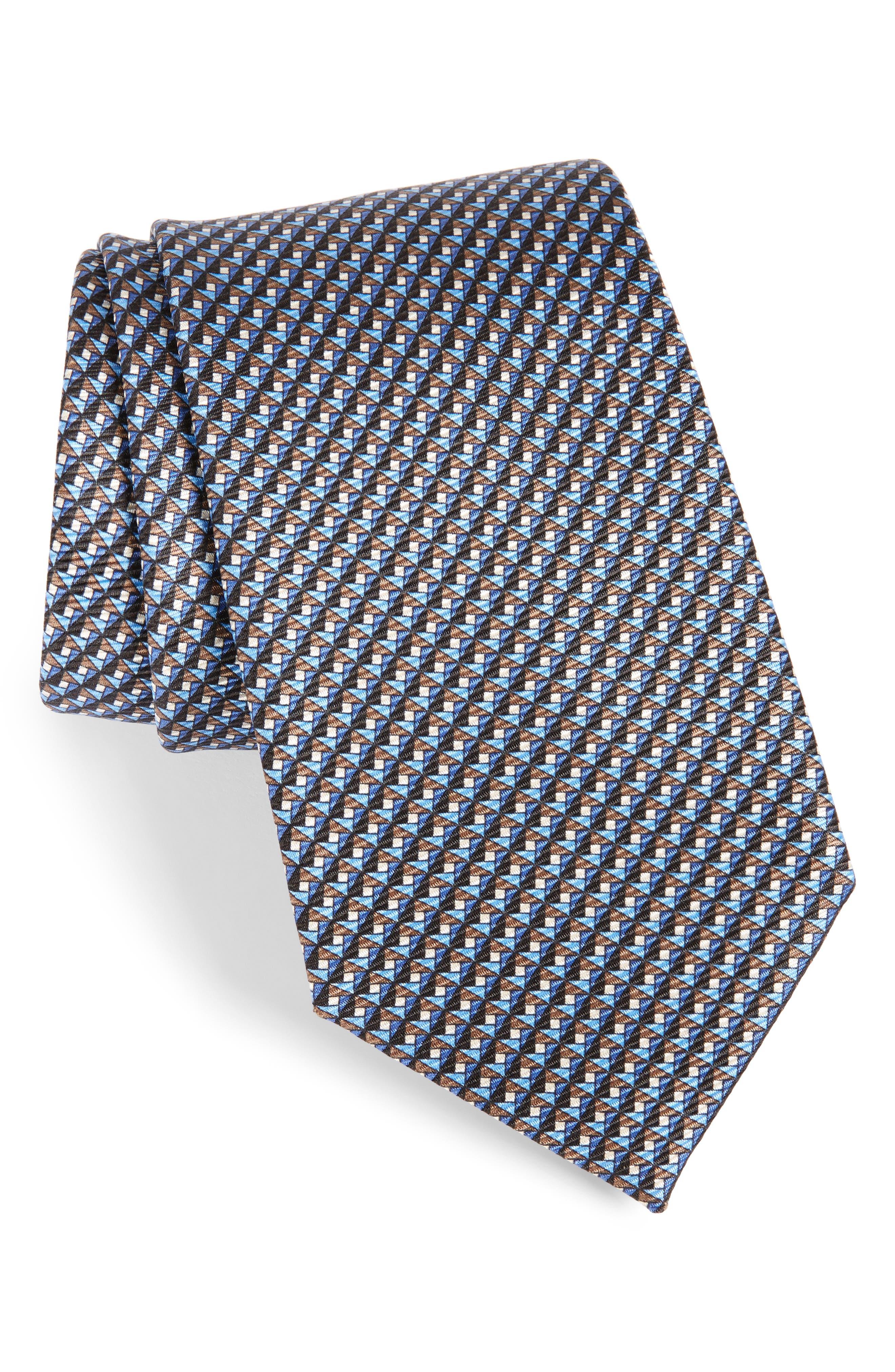 Geometric Silk Tie,                             Main thumbnail 1, color,                             Blue