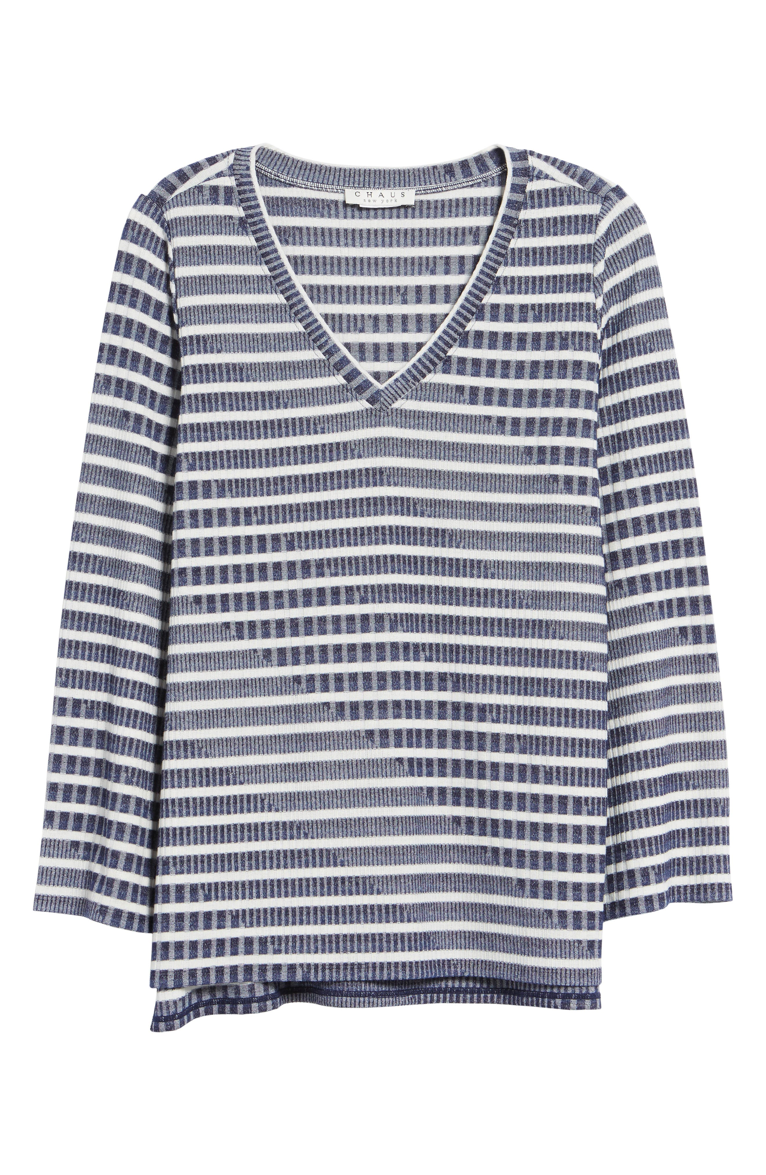 Bell Sleeve Stripe Top,                             Alternate thumbnail 6, color,                             Evening Na