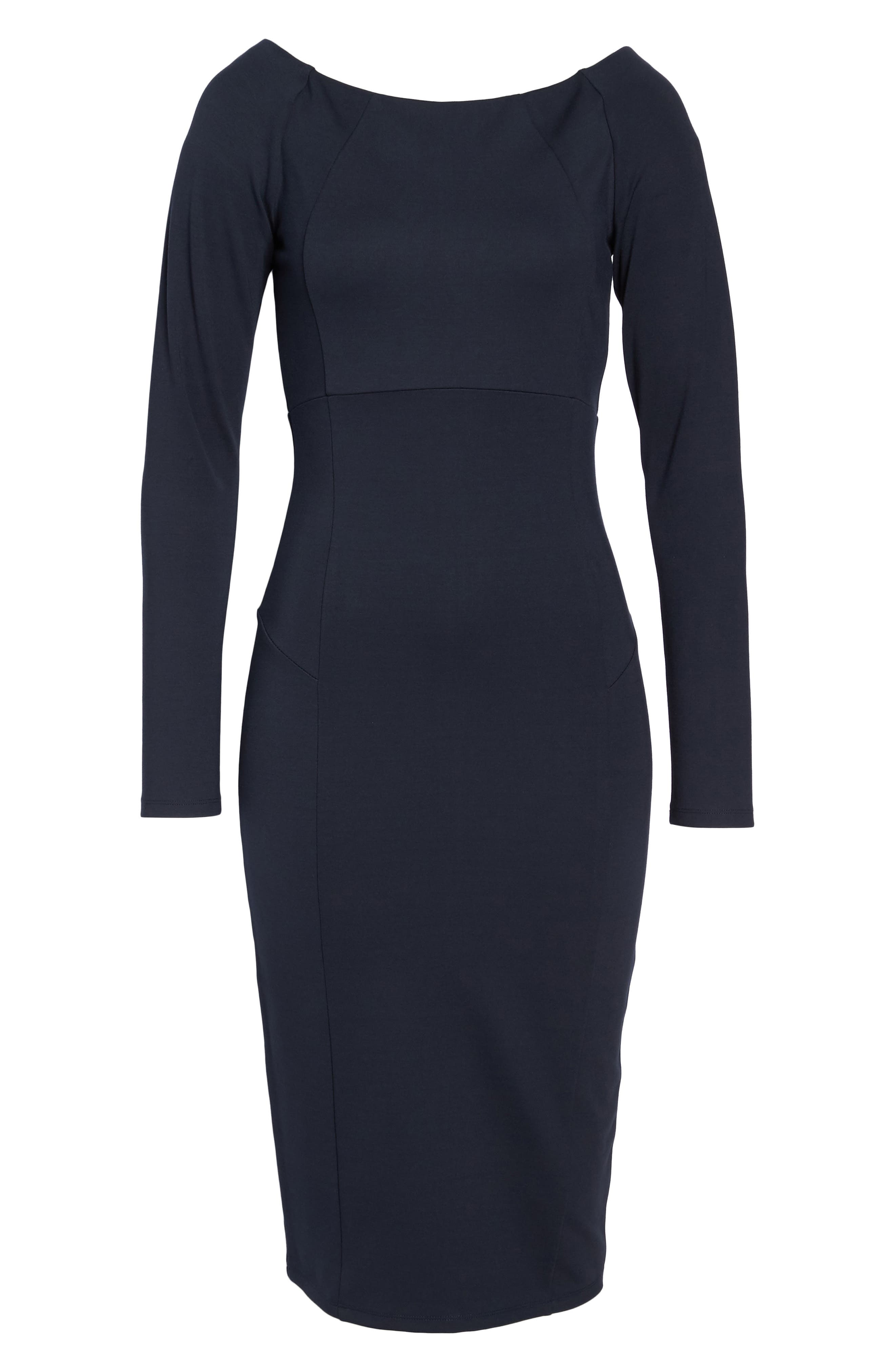 Maile Sheath Dress,                             Alternate thumbnail 6, color,                             Navy