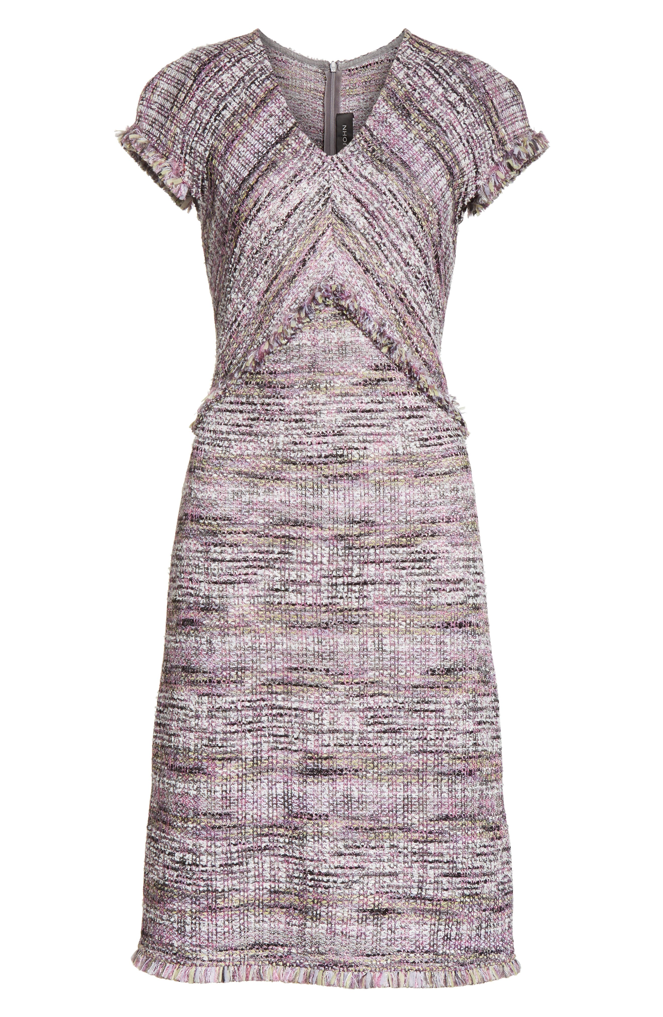 Anna Stripe Tweed Dress,                             Alternate thumbnail 7, color,                             Orchid Multi