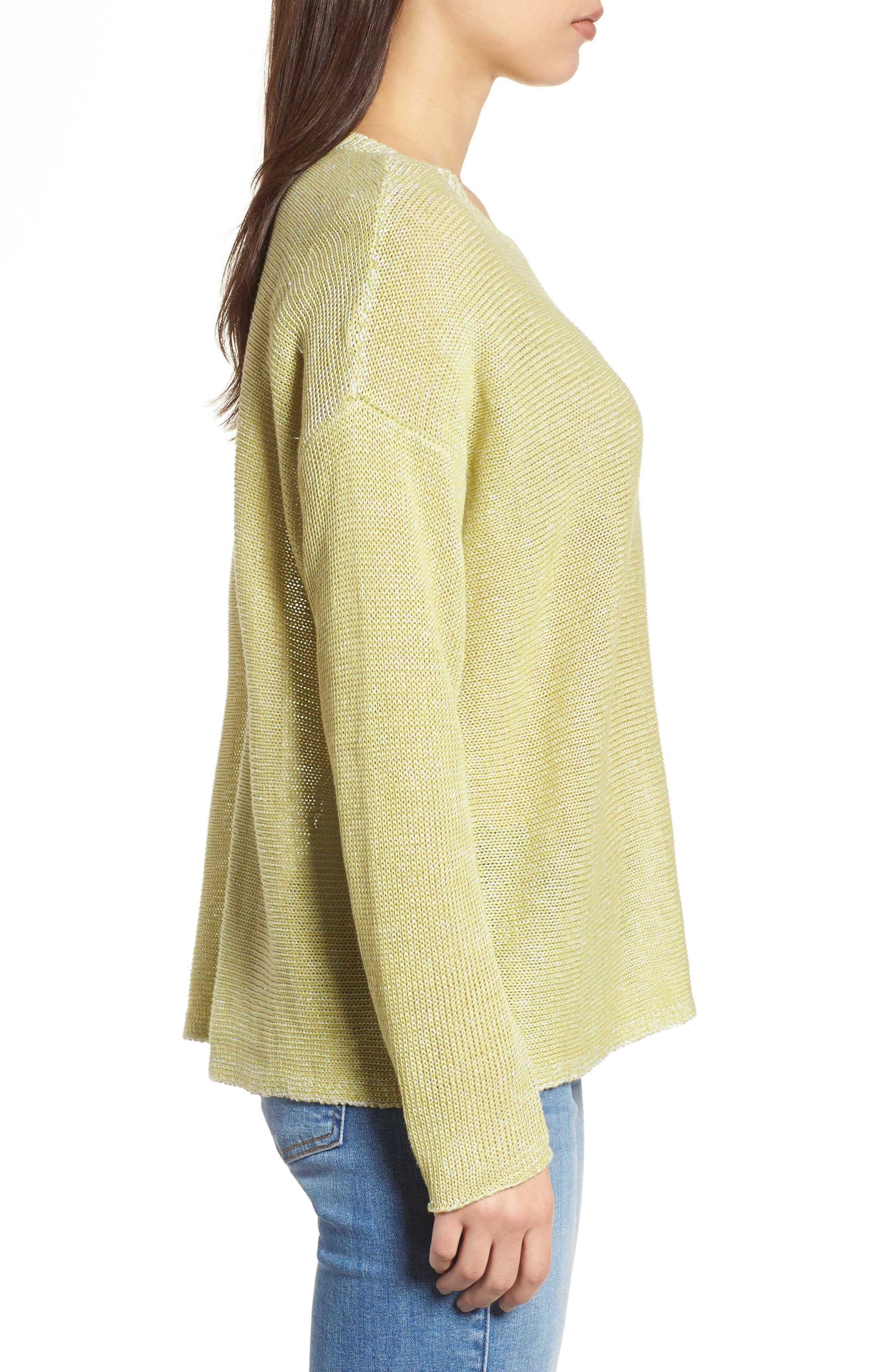Boxy Organic Linen Sweater,                             Alternate thumbnail 3, color,                             Verbena