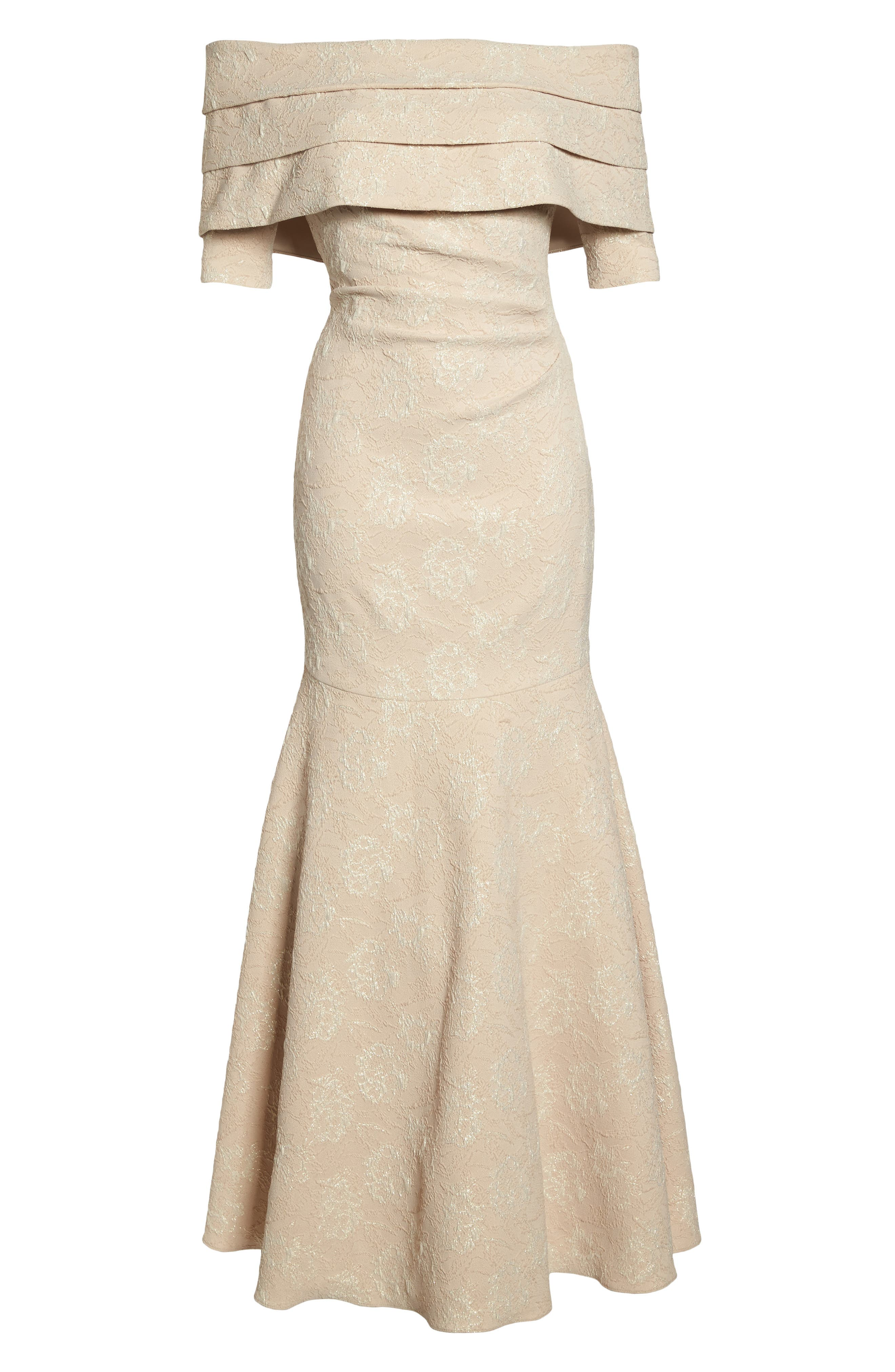 Brocade Off the Shoulder Trumpet Gown,                             Alternate thumbnail 9, color,                             Champagne