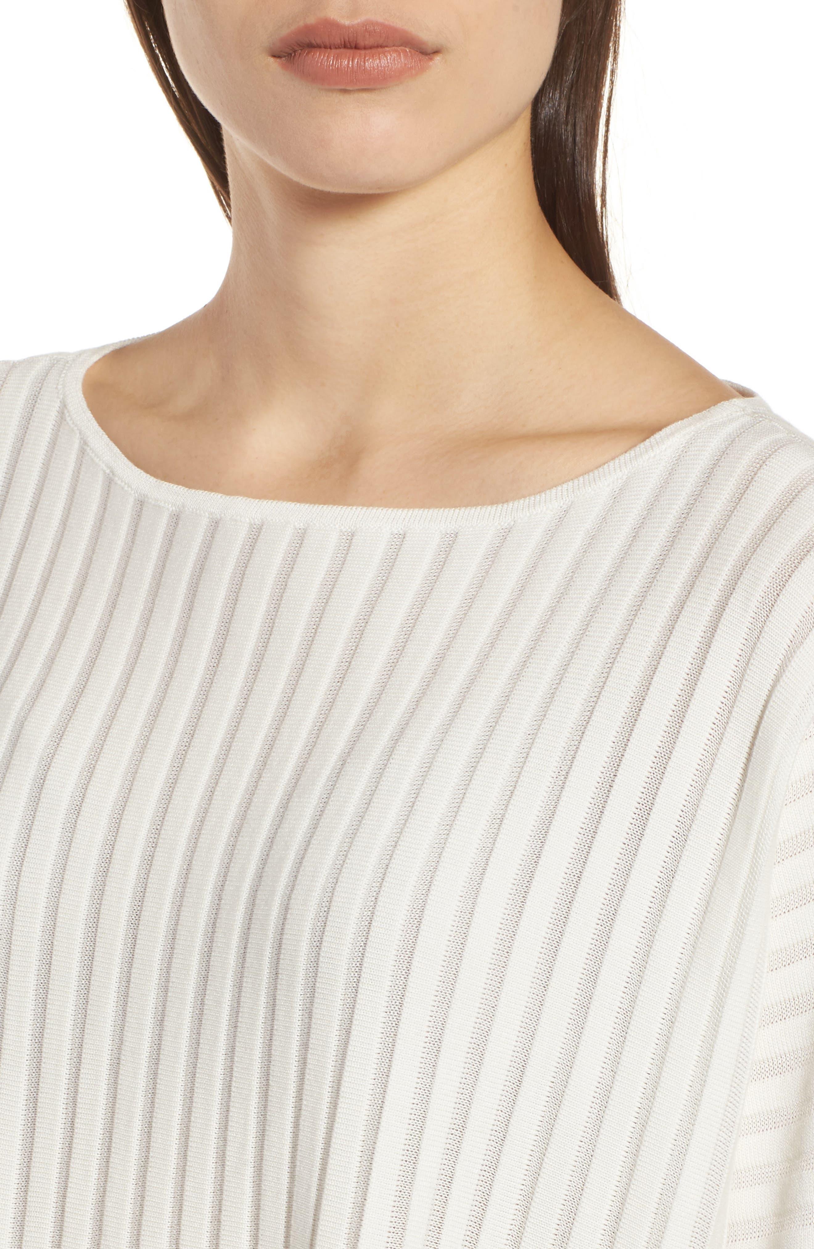 Ribbed Bateau Neck Sweater,                             Alternate thumbnail 4, color,                             Soft White