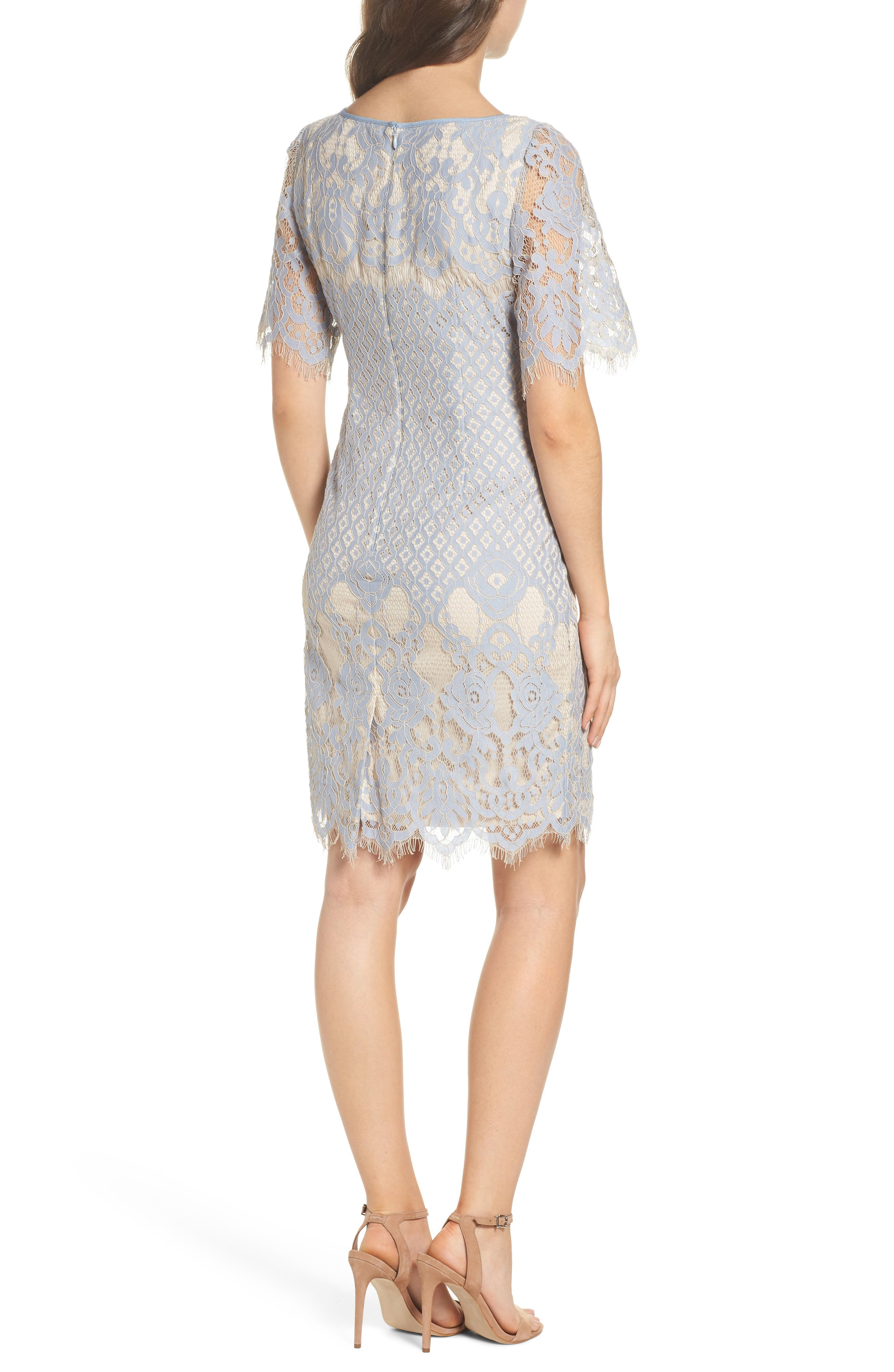 Alternate Image 2  - Adrianna Papell Georgia Lace Sheath Dress (Regular & Petite)