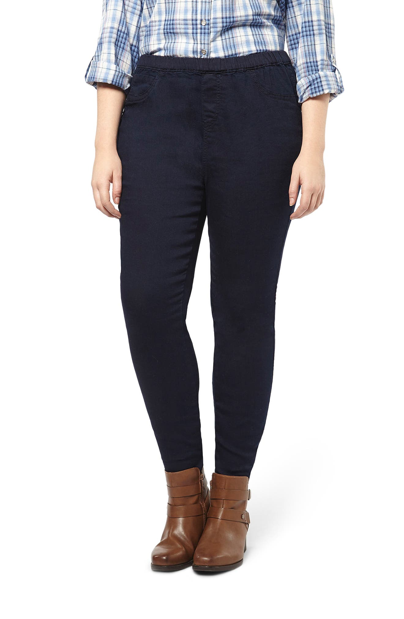 Evans Stretch Denim Leggings (Indigo) (Plus Size)