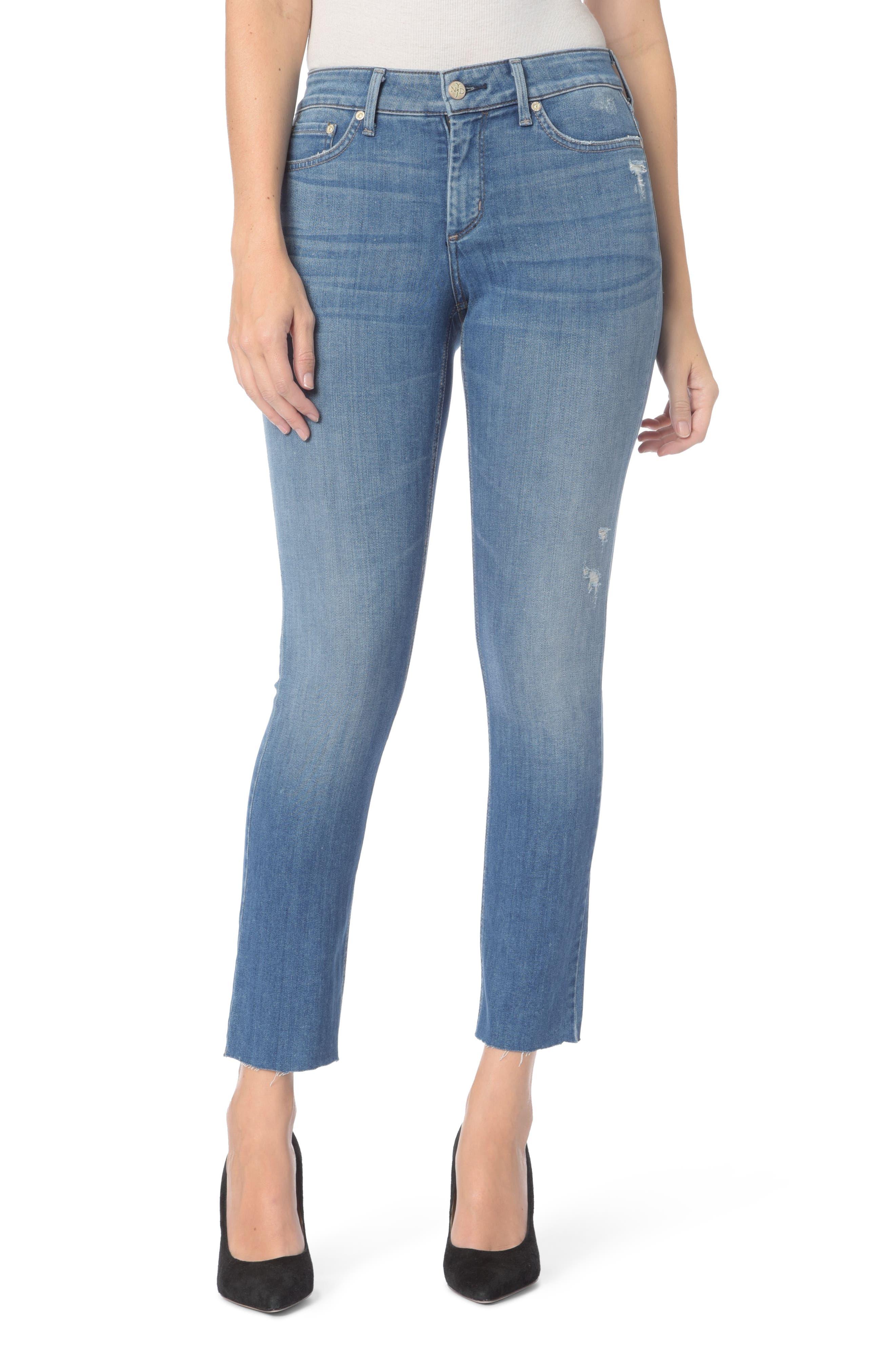 Alternate Image 1 Selected - NYDJ Sheri Ripped Slim Stretch Ankle Jeans (Burton)