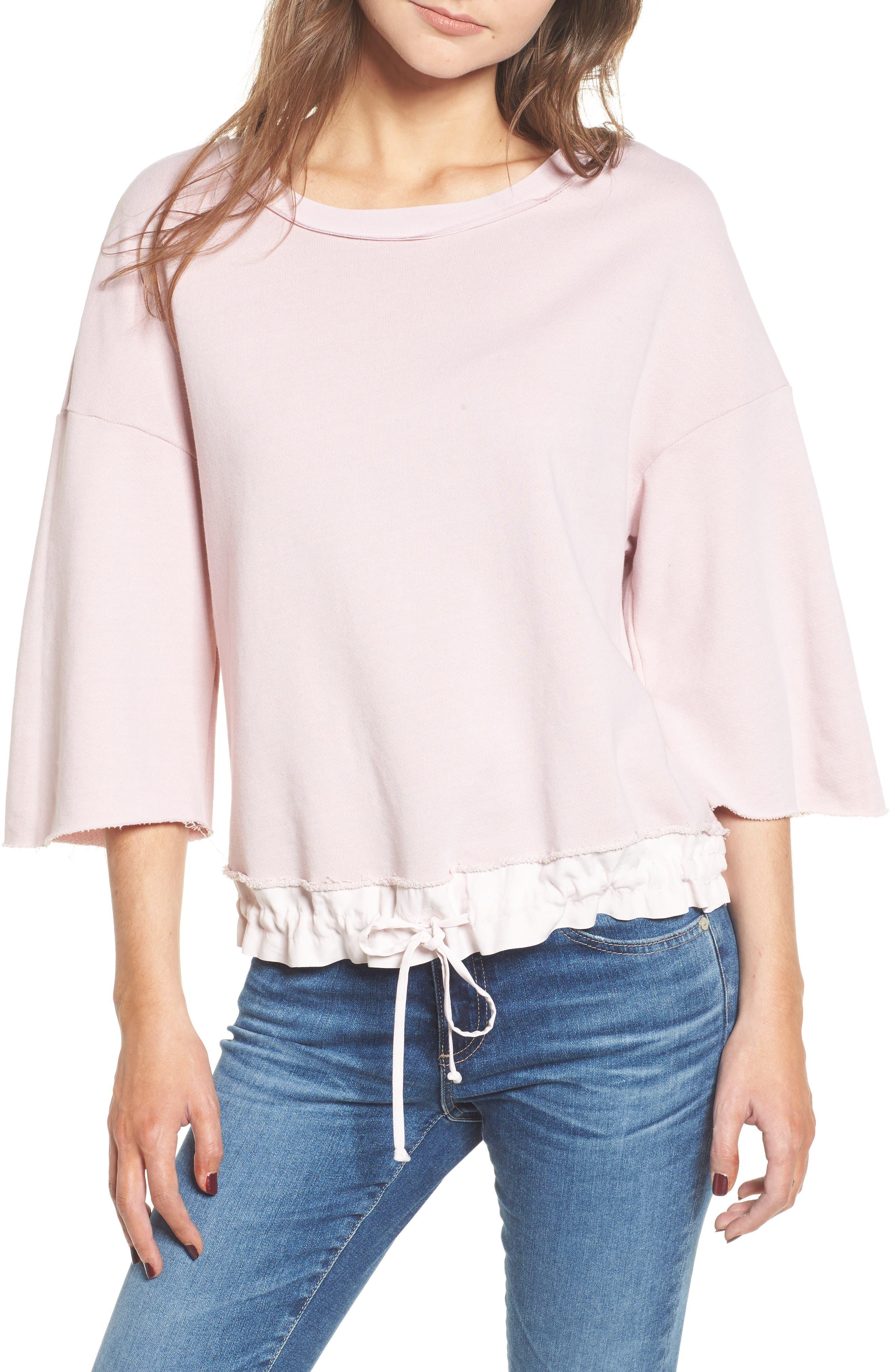 Crop Terry Sweatshirt,                         Main,                         color, Peach