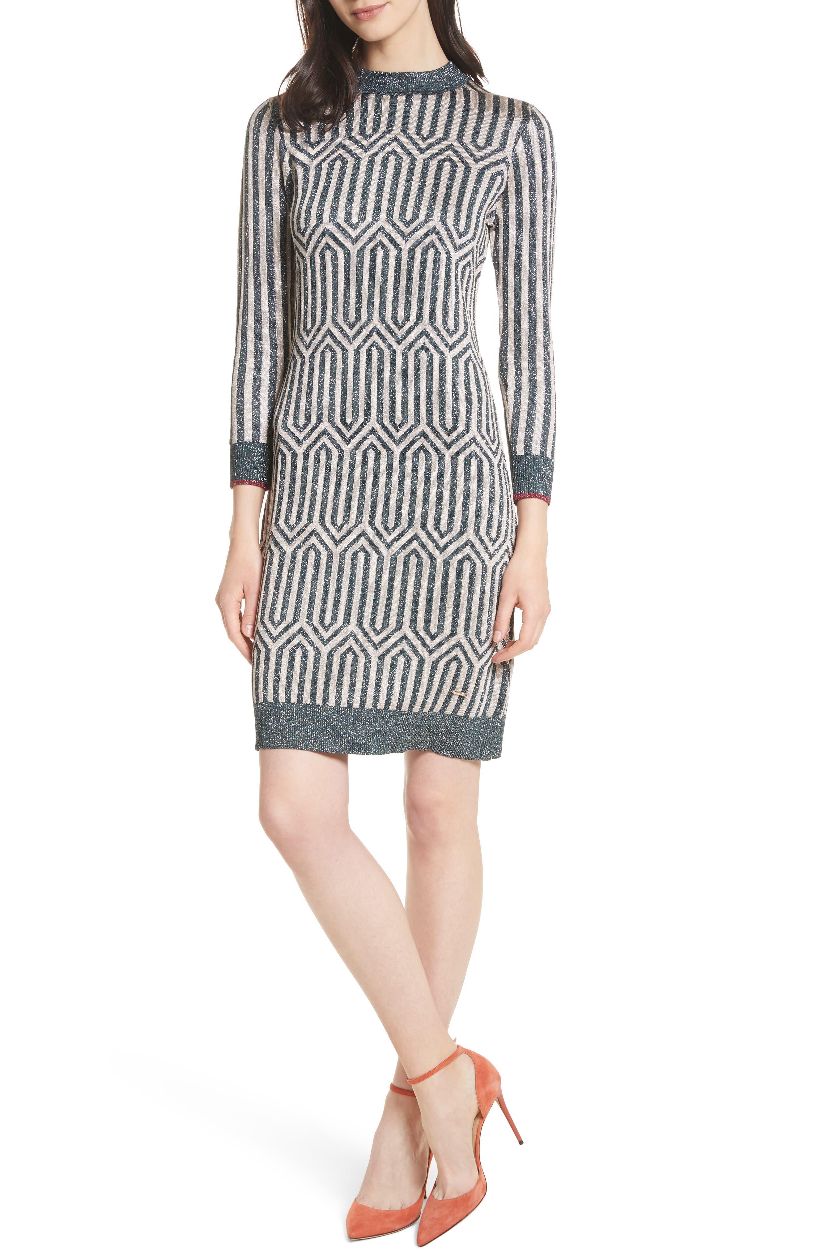 Metallic Knit Dress,                         Main,                         color, Teal