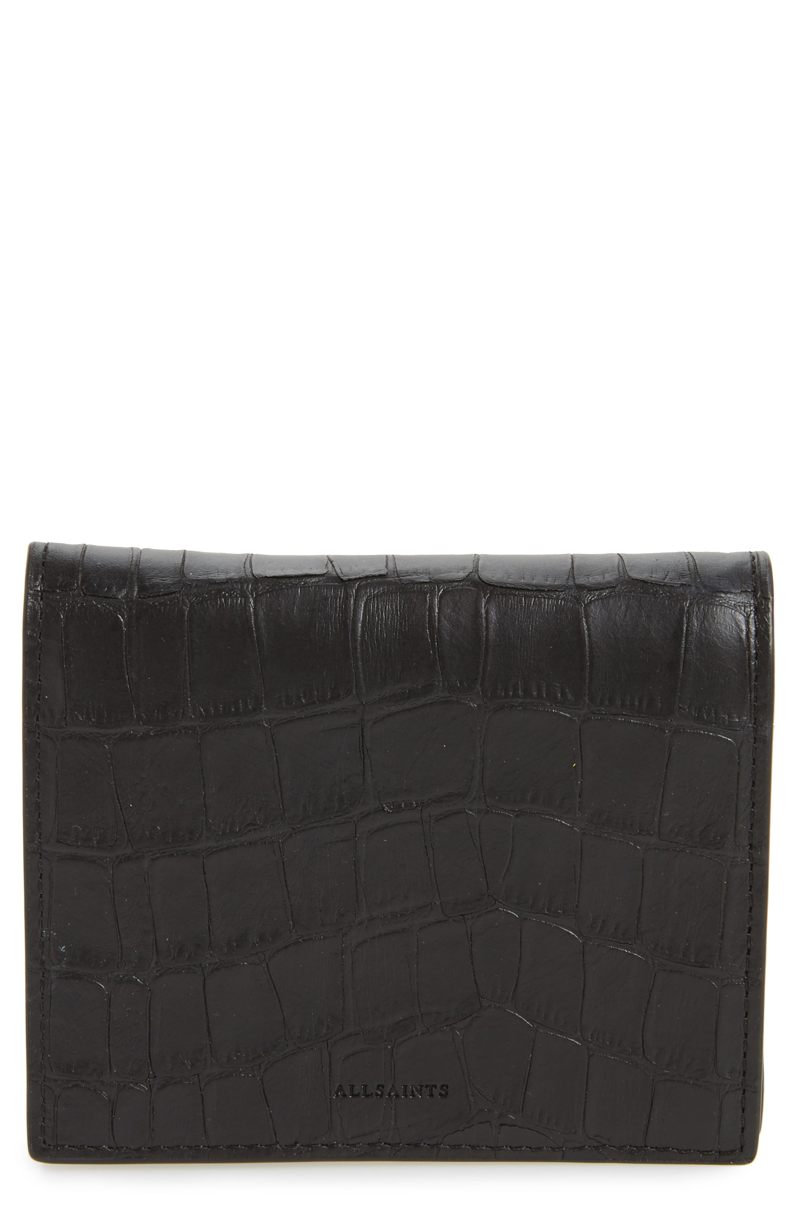 Small Keel Croc Embossed Leather Wallet,                         Main,                         color, Black