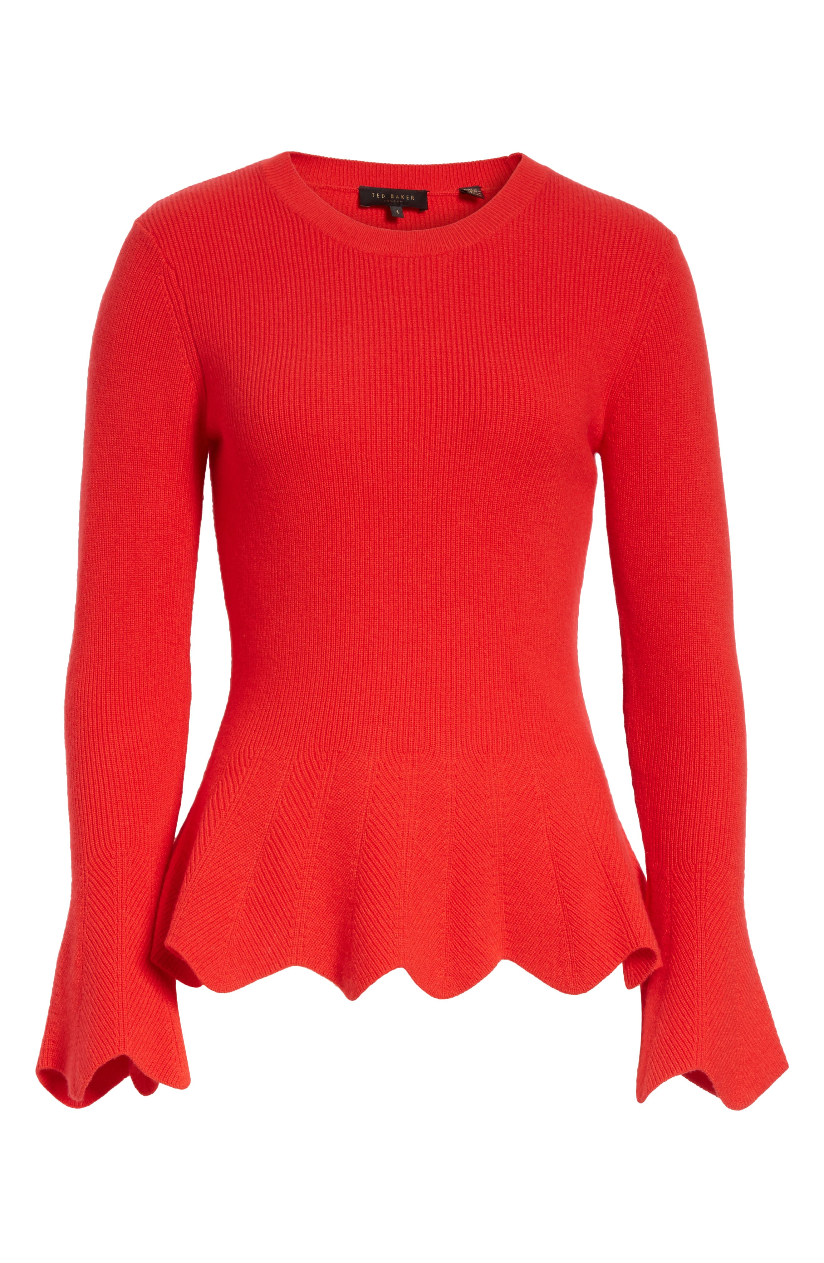 Peplum Sweater,                             Alternate thumbnail 6, color,                             Bright Red
