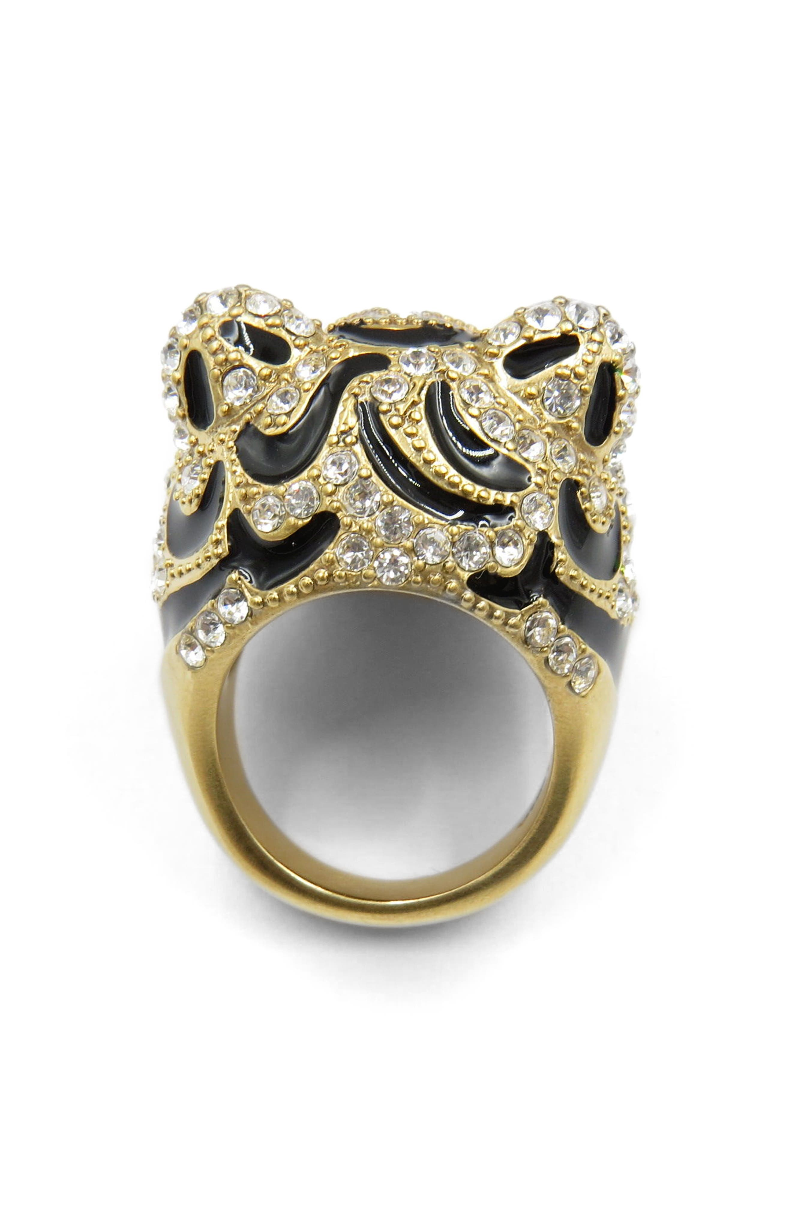 Tiger Head Ring,                             Alternate thumbnail 2, color,                             Gold