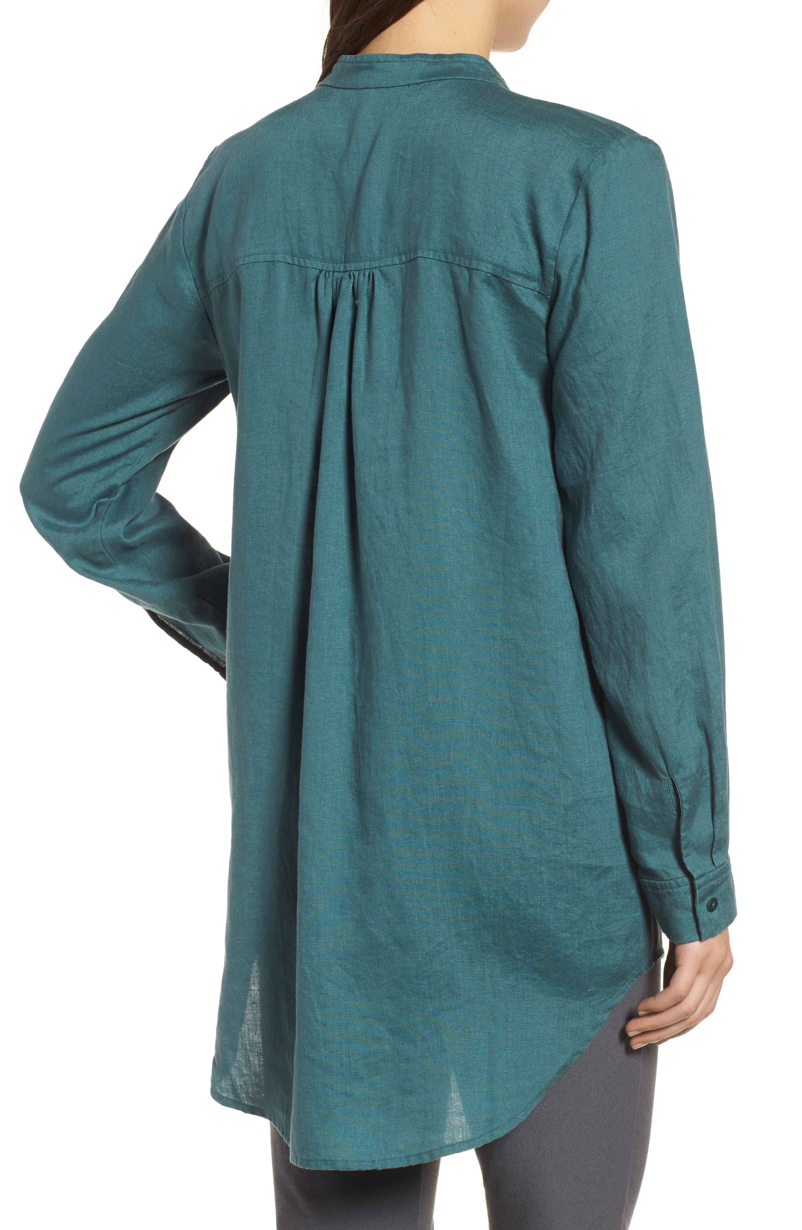 Organic Linen Tunic Shirt,                             Alternate thumbnail 2, color,                             Dragonfly